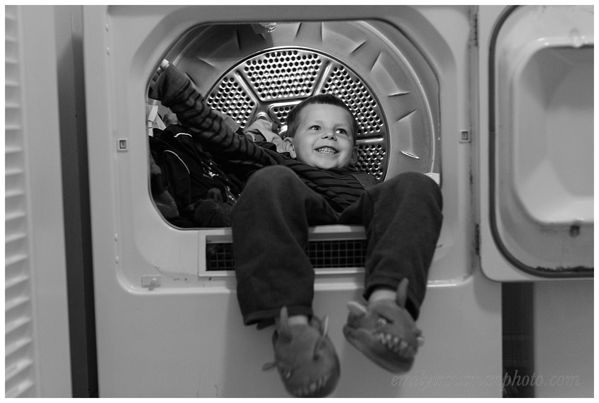 The dryer was just so warm he decided to hop in! I can't blame the kid!