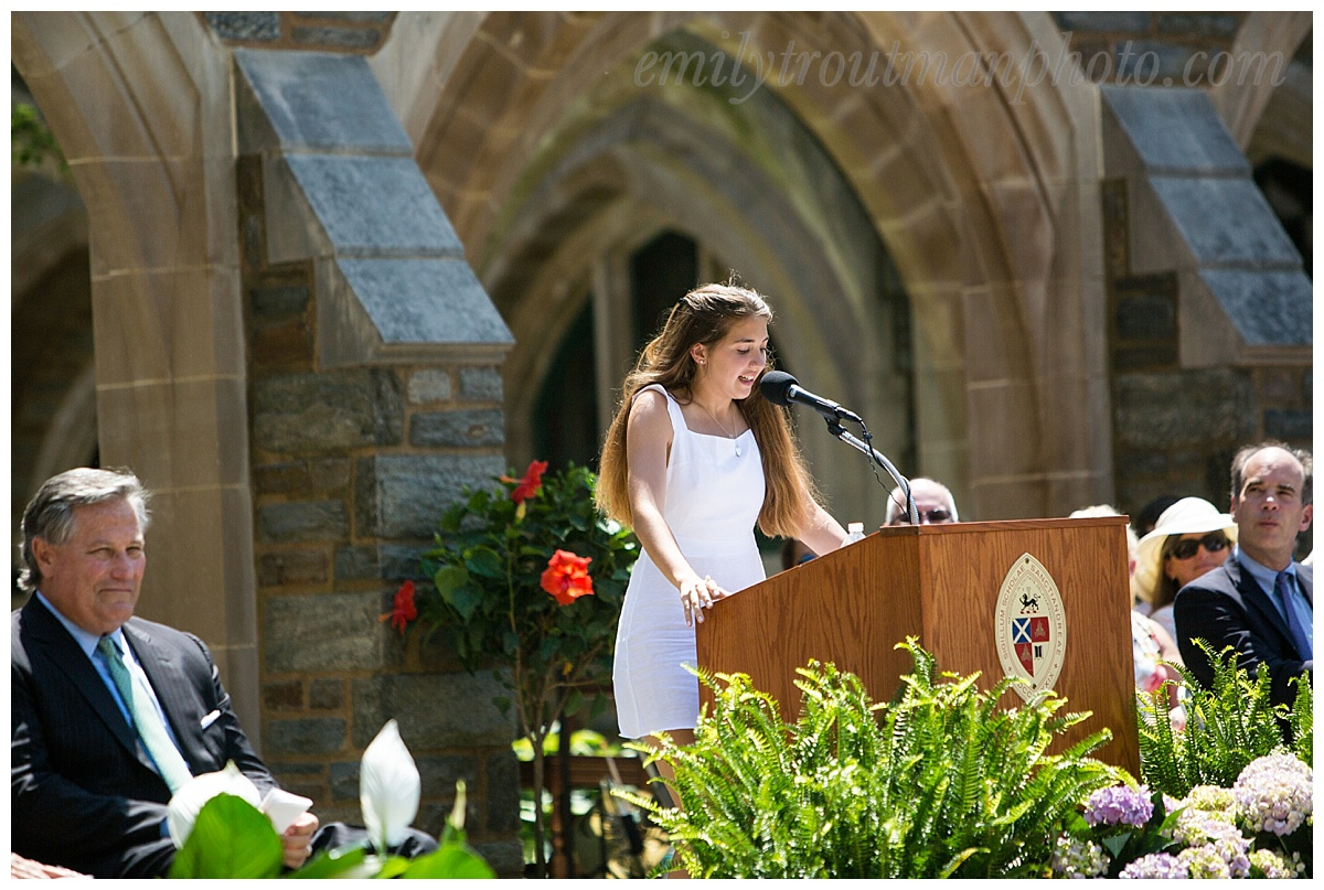Co-President Juliette Neil '16 acknowledged her deep uncertainty about her future and who she would be in it, and her fear of experiencing failure outside the relative safety of St. Andrew's