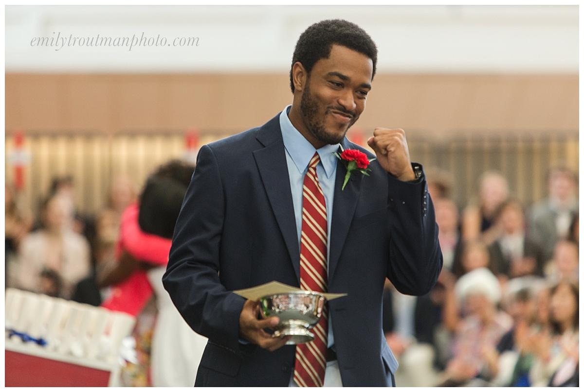 Jaryd Jones receives an award
