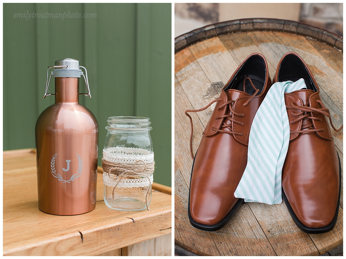 "These really unique, personalized ""beer growlers"" were the grooms gift to his groomsmen. The snazzy bowties were a nice touch for everyone!"