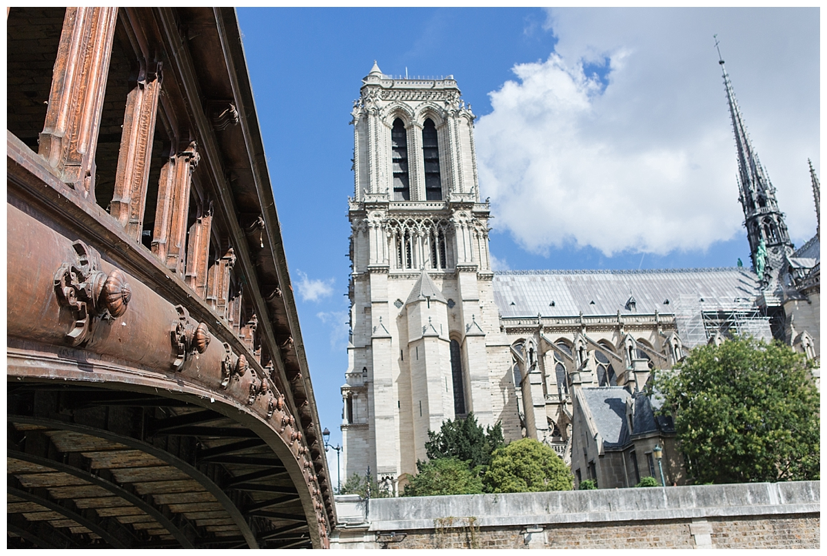 Notre Dame Cathedral exterior, from down on the Siene river