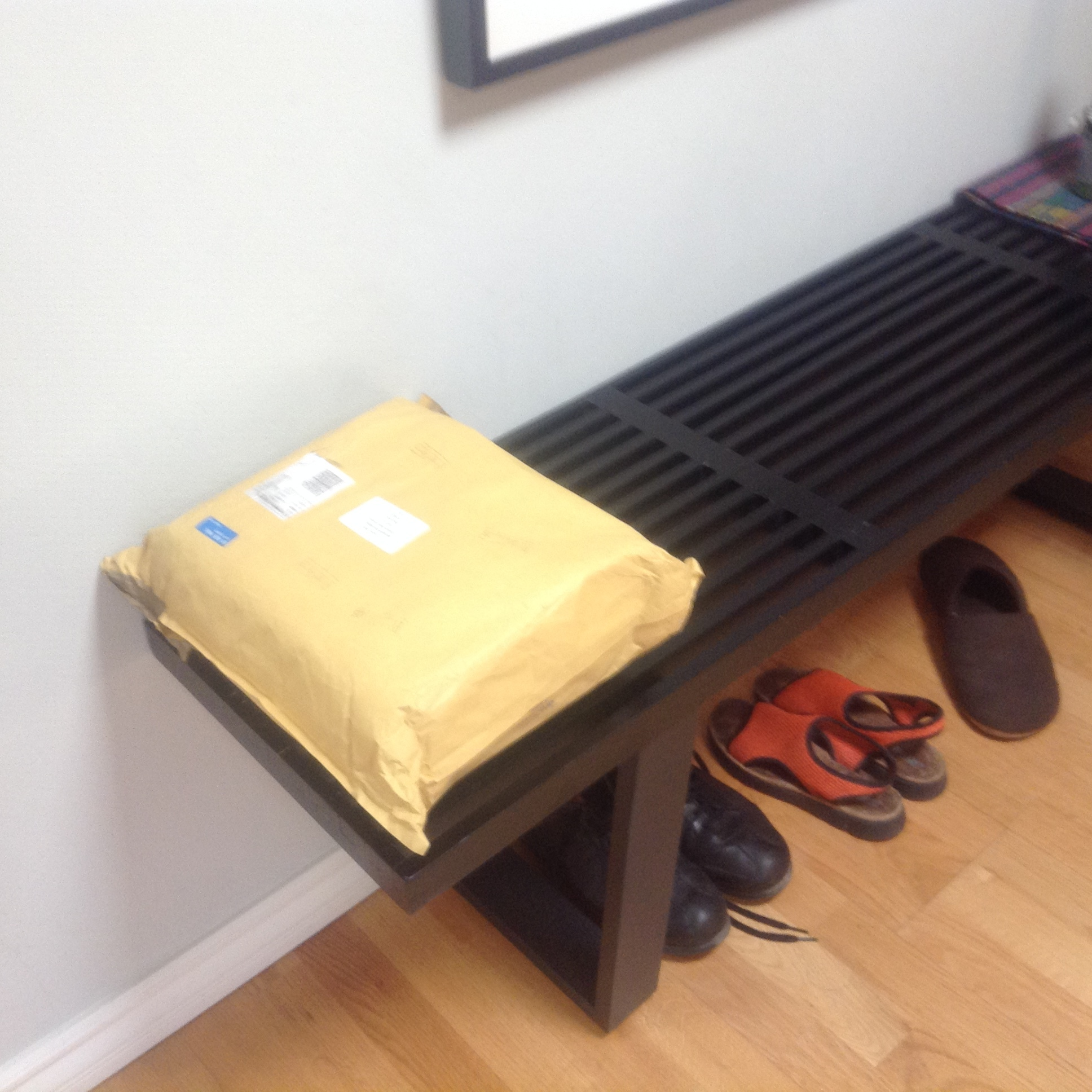 Two days ago I found this package sitting in front of our apartment door, brought up, no doubt, by a kind neighbour, or perhaps the postman. I wondered what it was, then realised that it must be the 20 copies of my new collection of poems,  The Hotel Eden ,  that I ordered from Carcanet, along with my 6 complimentary copies.  I brought it in, of course, and set it on the bench in the entry with the shoes, my keys, my sunglasses, my backpack.Did I tear it open? Nope. Two days later it is still there, as pictured. My husband was ready to open it the first day,couldn't believe I wouldn't. Last night again. This morning. 'When I get results in the lab, I want to see them right away,' he said. 'What's with you?'  This happens with each book, not the translated ones so much as the ones I write for myself. Am I afraid I'll be disappointed in the poems?If only I'd had ten more years to work on them?Once I get the books there's nothing more I can do to improve them? It's way too final...  'I'm waiting to be in the mood,' I told my husband.