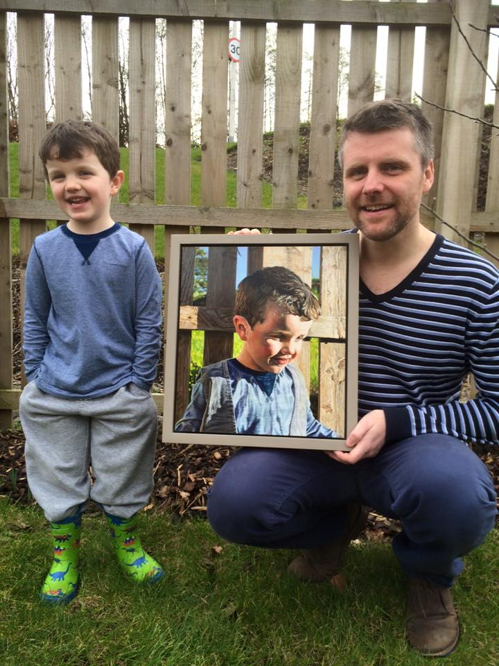 """""""Adam has created two wonderful photorealistic paintings of my two eldest sons. On both occasions Adam came to our home, developed a good rapport with the boys and took several photos. The best of which he transformed into amazing paintings. I would recommend him to anyone.""""  - Dr Paul McGrane,      Fife"""