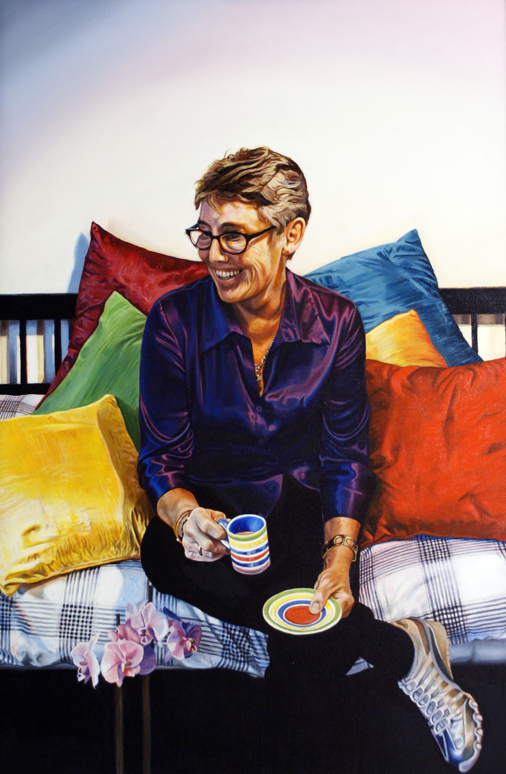 """""""We have two portraits by Adam, both of which have pride of place in our living room. Everyone who sees them is astonished with how he has captured our personalities and with such physical likeness.  He uses colour, composition and technical excellence to create fabulous portraits.""""  -Annie Evans,            London."""
