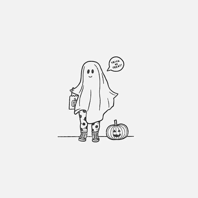 Day 06 of 31 // Ghosts (of the human/trick-or-treater kind) 👻 #littleinktober #inktober