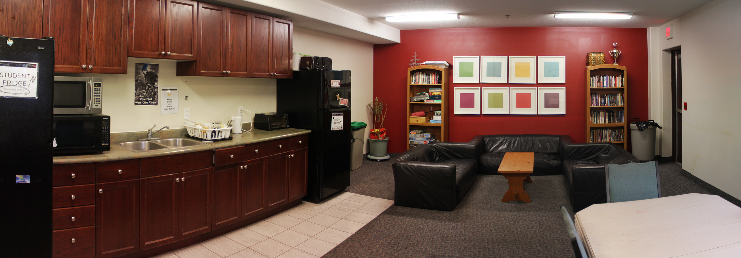 The School of Ministry Kitchenette is a social hub in the evenings. There is a fridge and freezer, cupboard space, toaster and kettle for snacks.