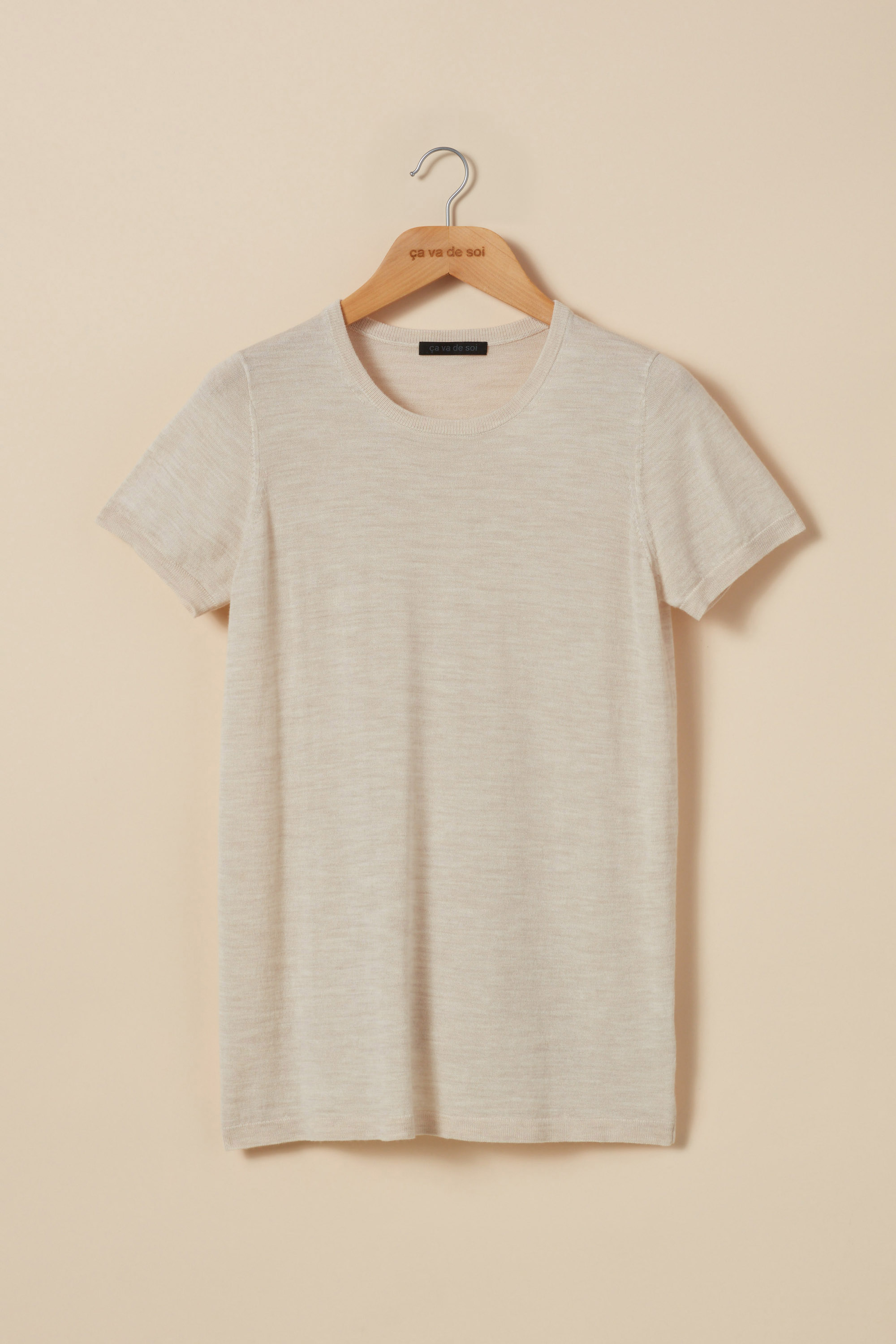Extra-fine merino wool short-sleeve t-shirt sweater