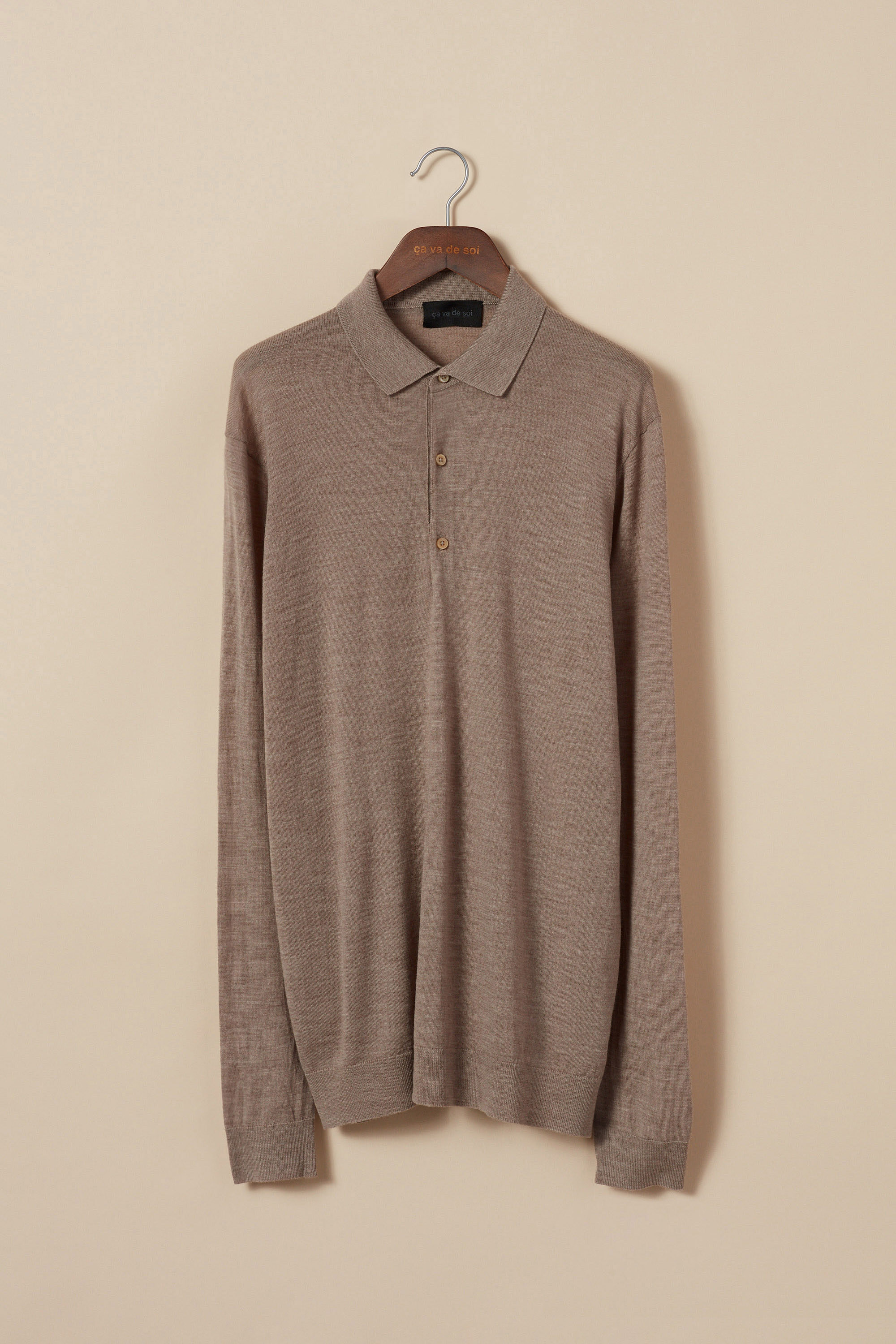 Extra-fine merino wool polo sweater
