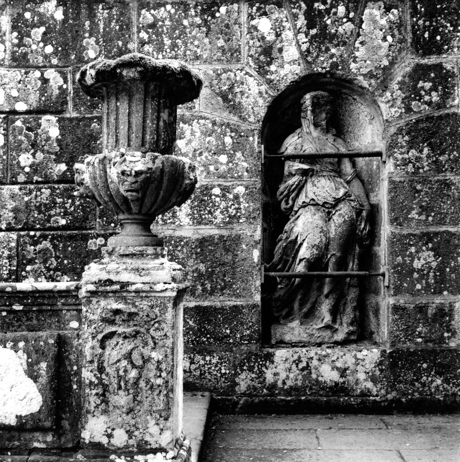 Urn and Statue with Lichens and Moss, Villa Lante