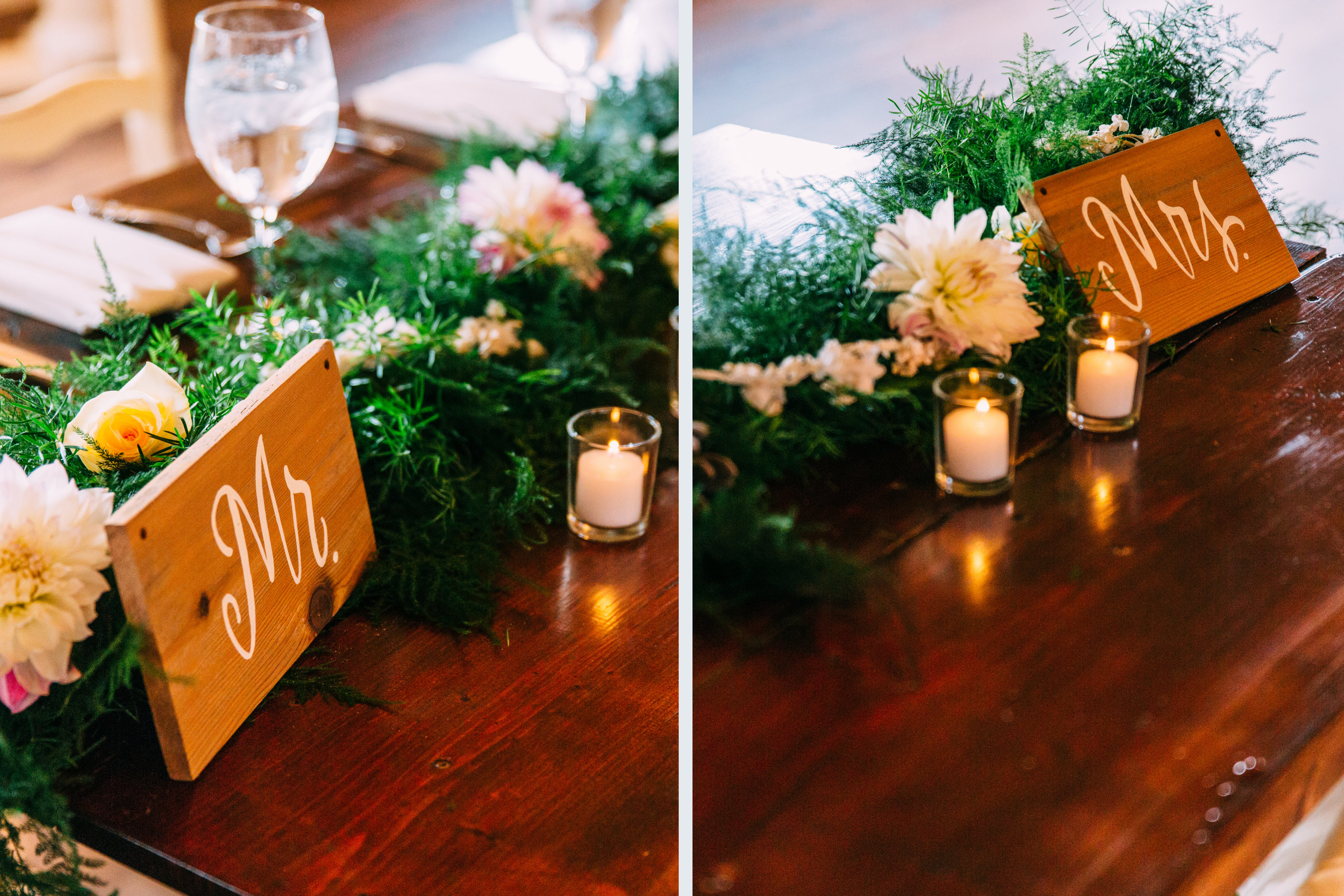 Sweet little Mr. and Mrs. signs. Photo c/o  Jared Ladia Photography .