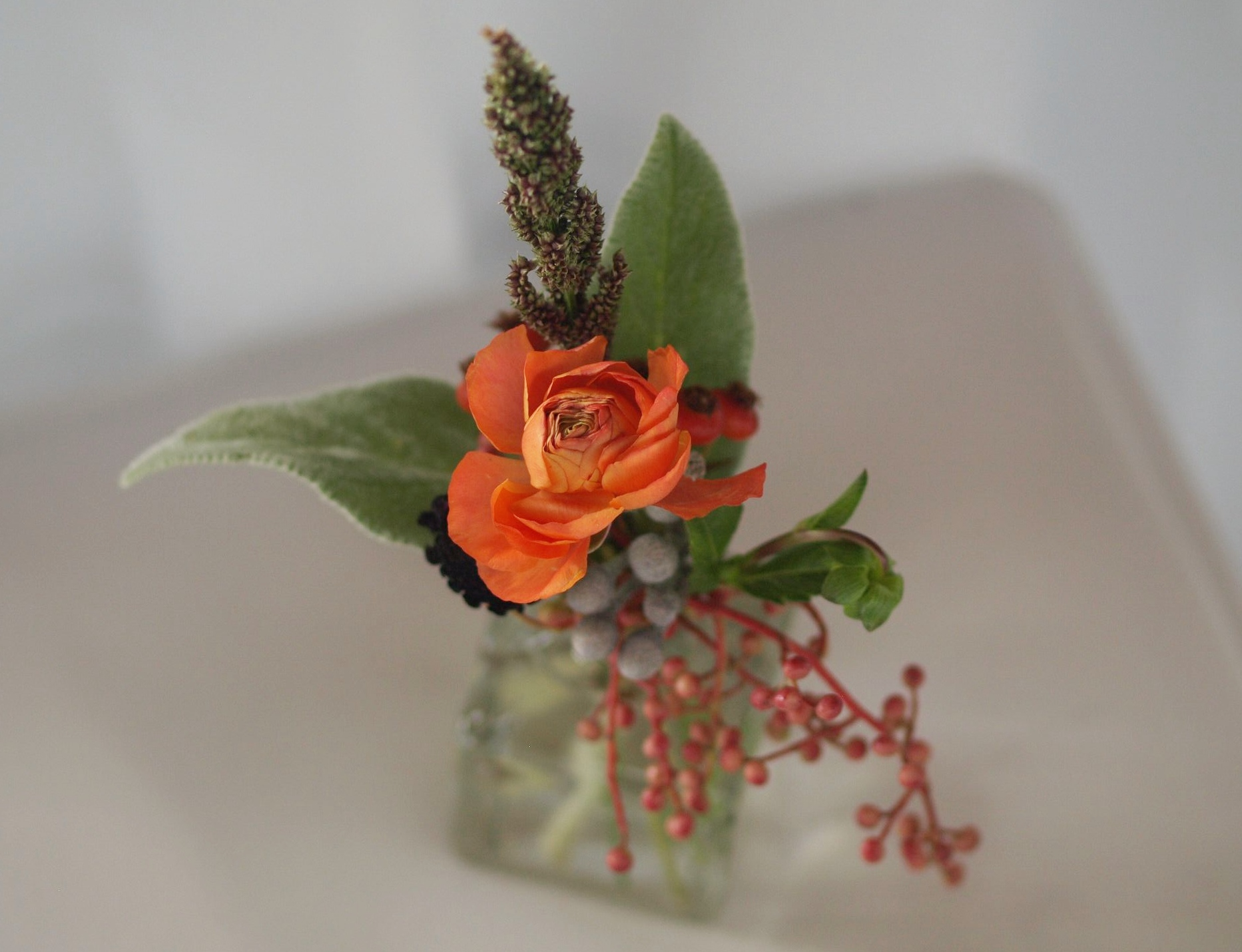 Oreonta house woodstock wedding bud vase with orange ranunculous, lambs ears, grey brunia, red berries and red rosehips and wildflowers rosehip social rosehip floral.jpg