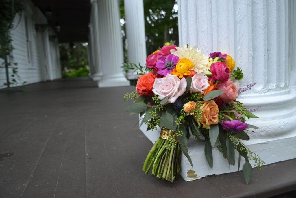 Bright Summer Bridal Bouquet. Rosehip Floral, Brooklyn NY.