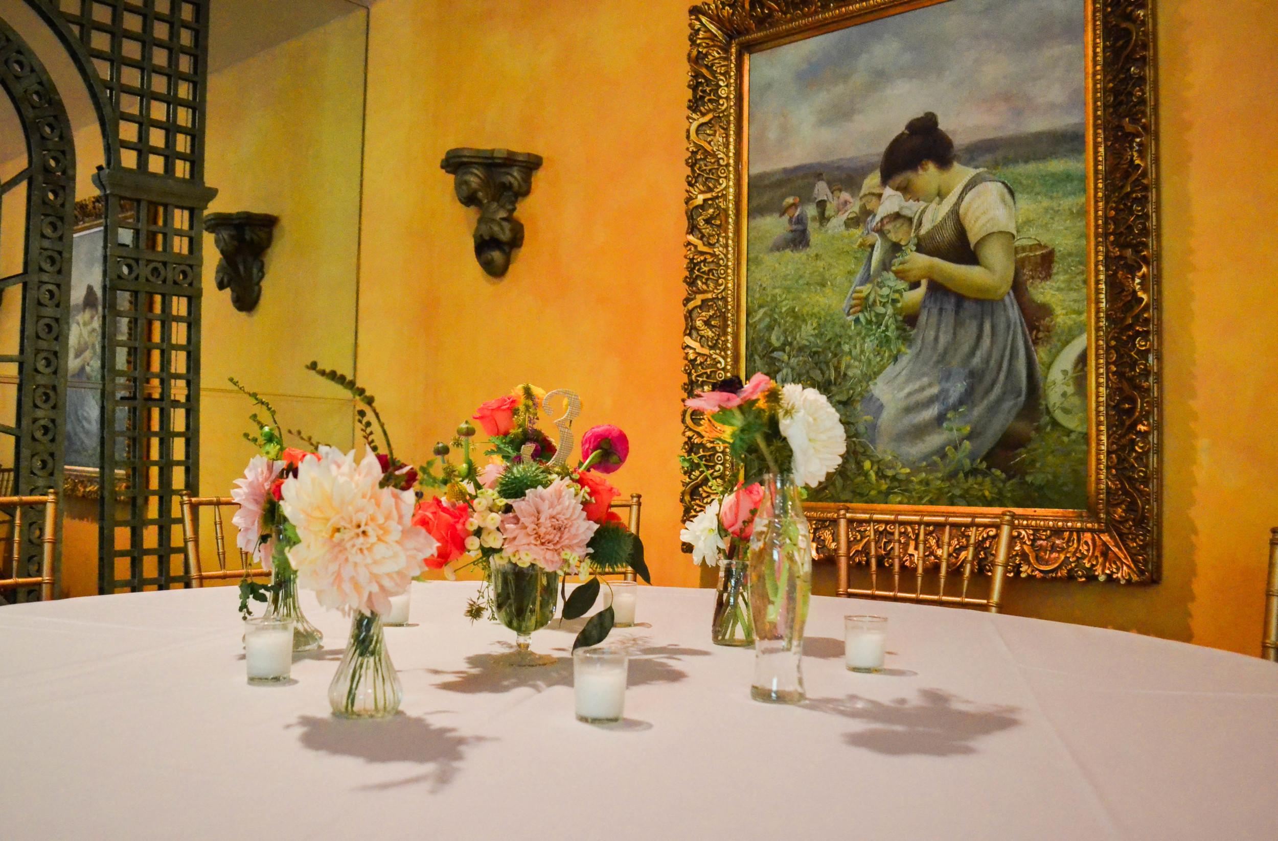 Bud vase arrangement in vintage aqua glass vase. Rosehip Social Brooklyn NY