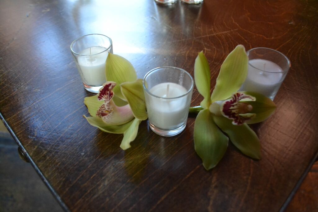 Green Cymbidium orchid at MyMoon.  Rosehip Social, Brooklyn, NY.