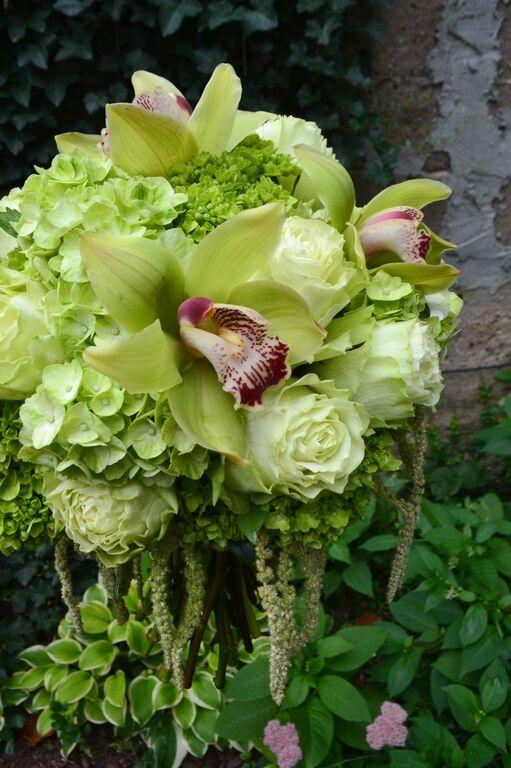Green Cymbidium orchid and hydrangea bridal bouquet.  Rosehip Social, Brooklyn, NY.