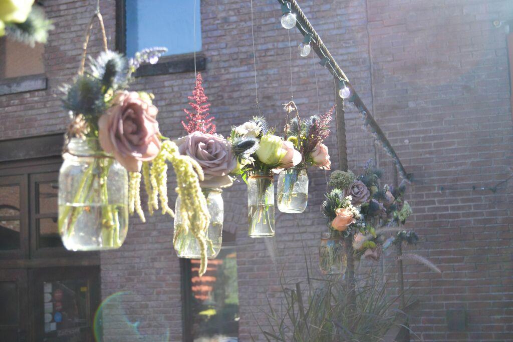 Hanging vases at MyMoon.  Rosehip Social, Brooklyn, NY.