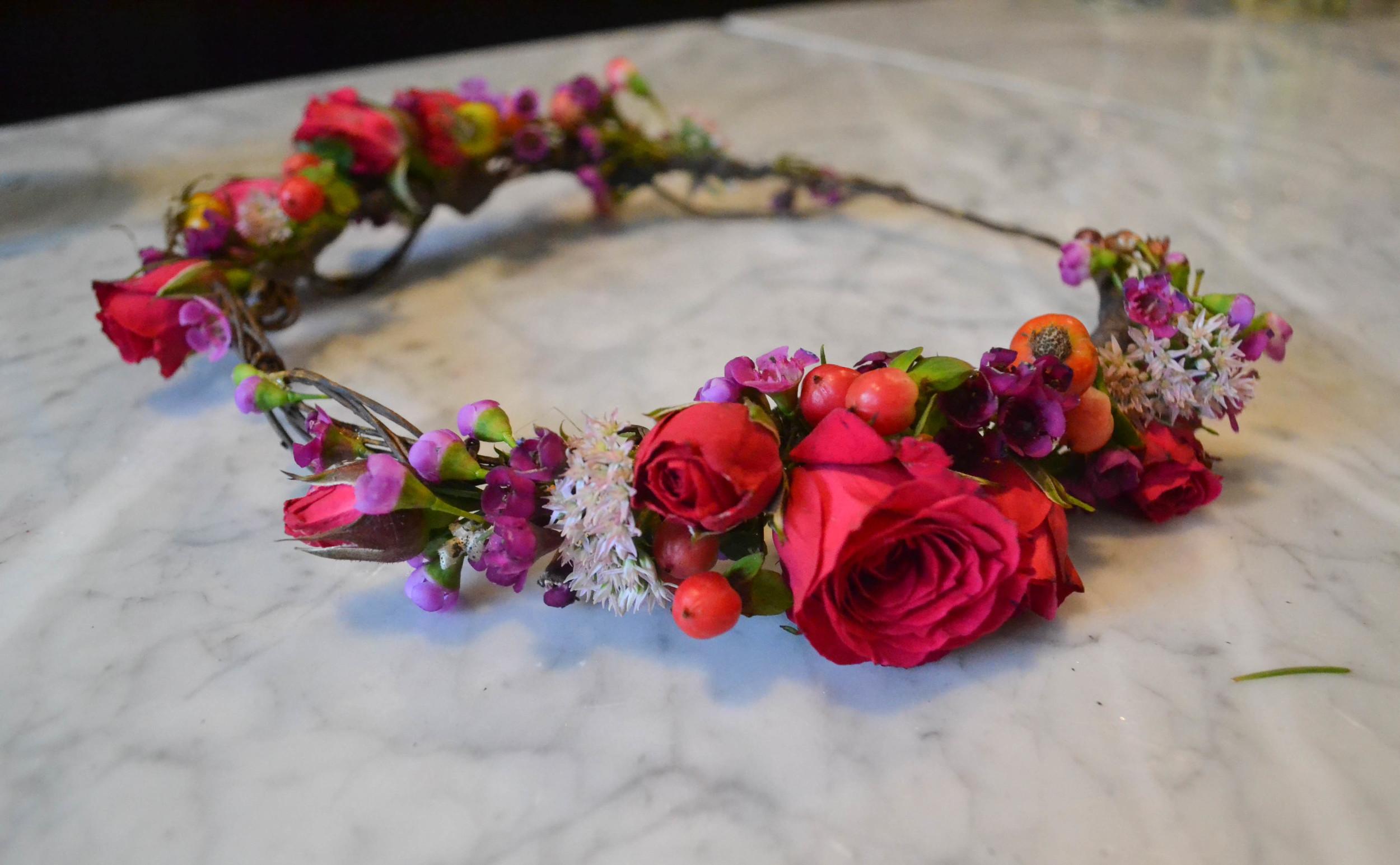 Raspberry Pink and Brown Branchy wreath. Foundry Wedding, LIC. Rosehip Social, Brooklyn NY.