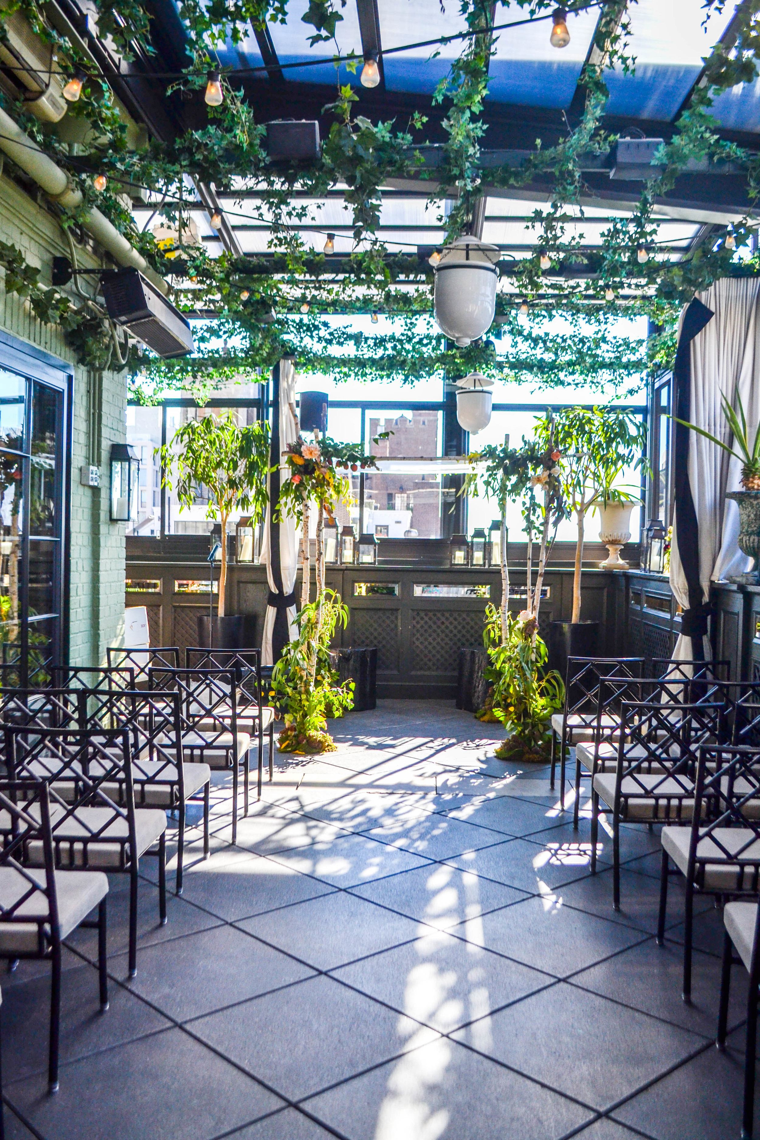 Birch chuppah at Gramercy Park Hotel Terrace