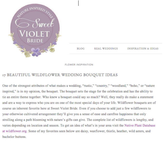 Sweet Violet Bride Nature Inspired Style Feature of Rosehip Social, wildflower bouquet