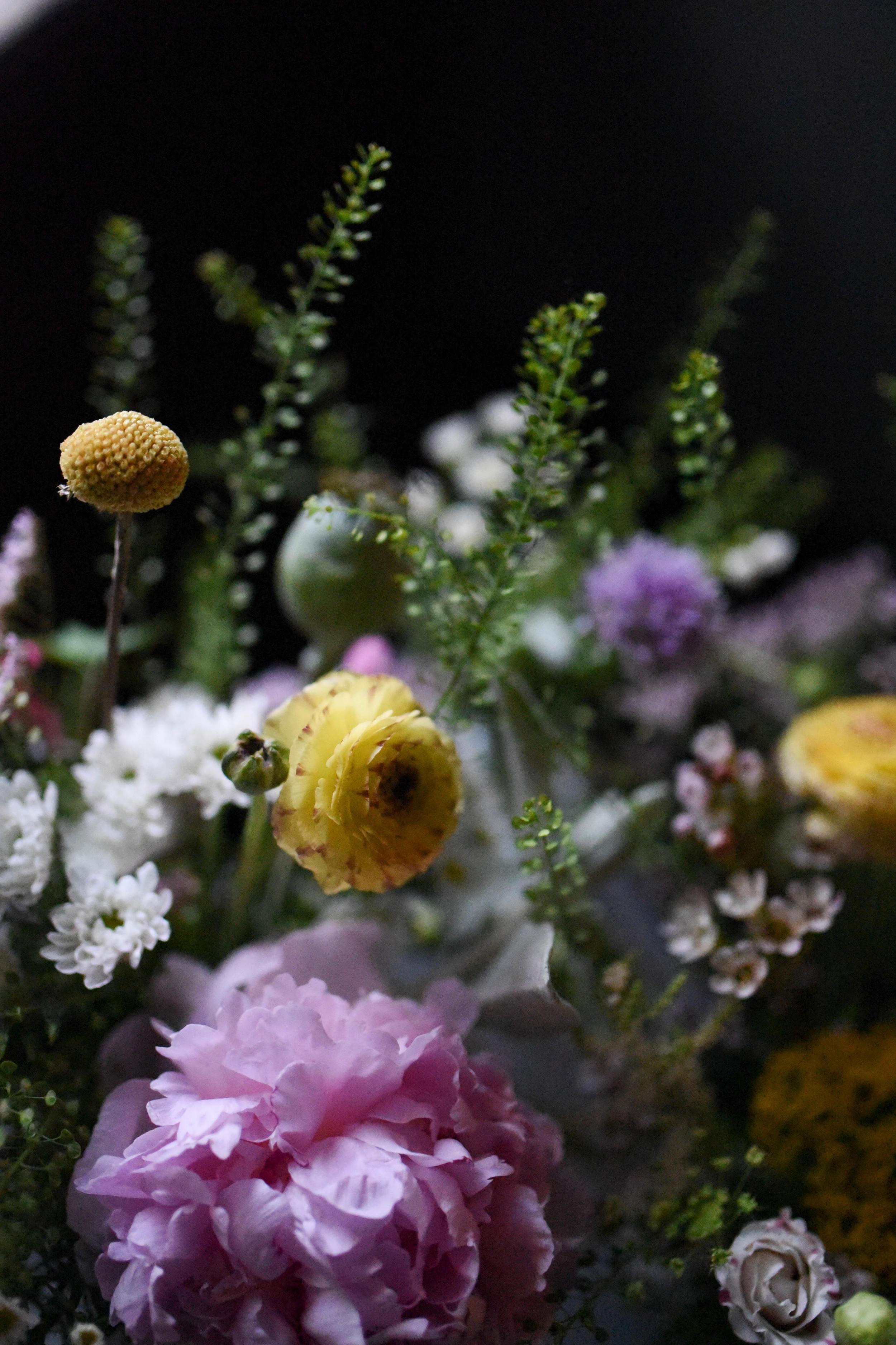 Wildflower jar centerpiece for Greenpoint Loft wedding