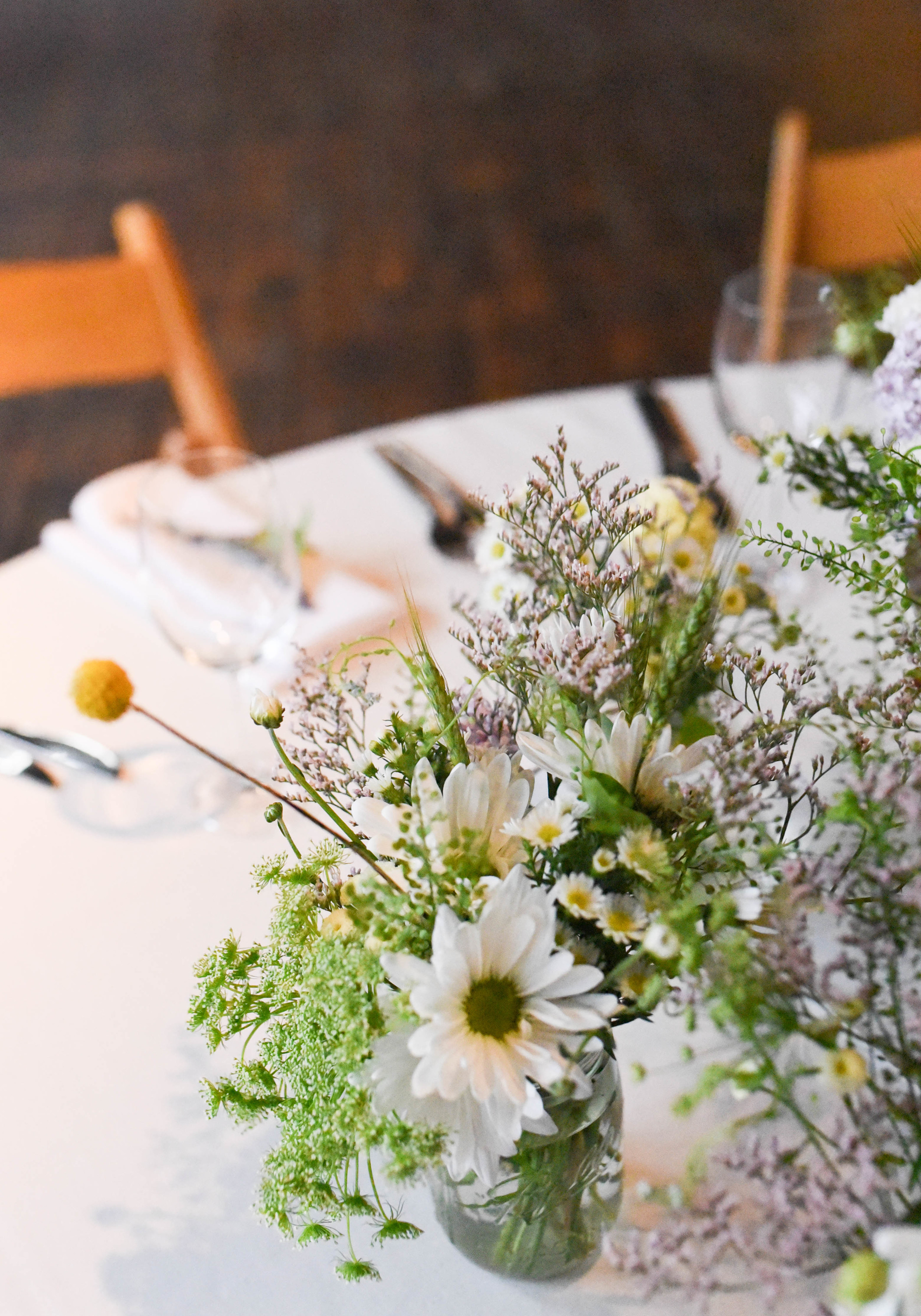 Rustic wedding flowers at the Greenpoint Loft