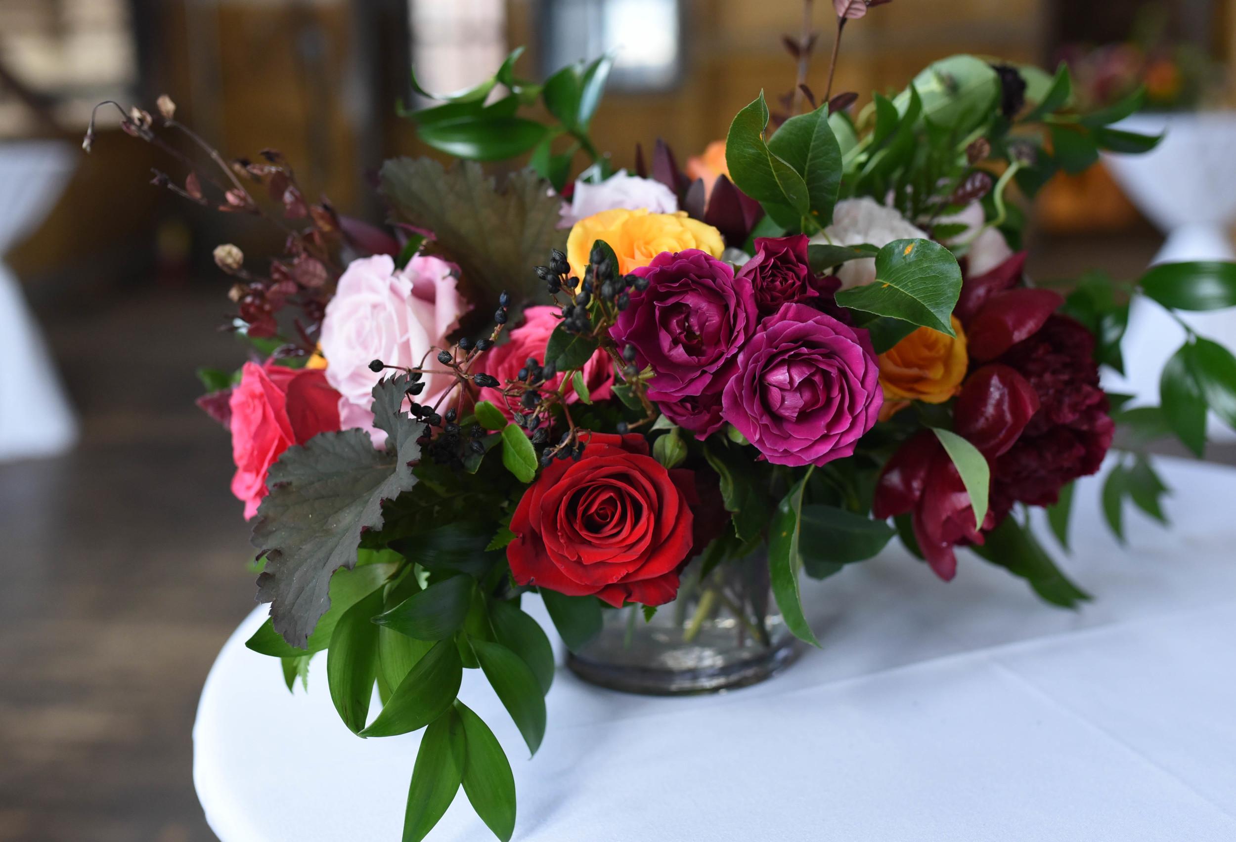 Romantic Lush Wedding center piece at the Greenpoint Loft