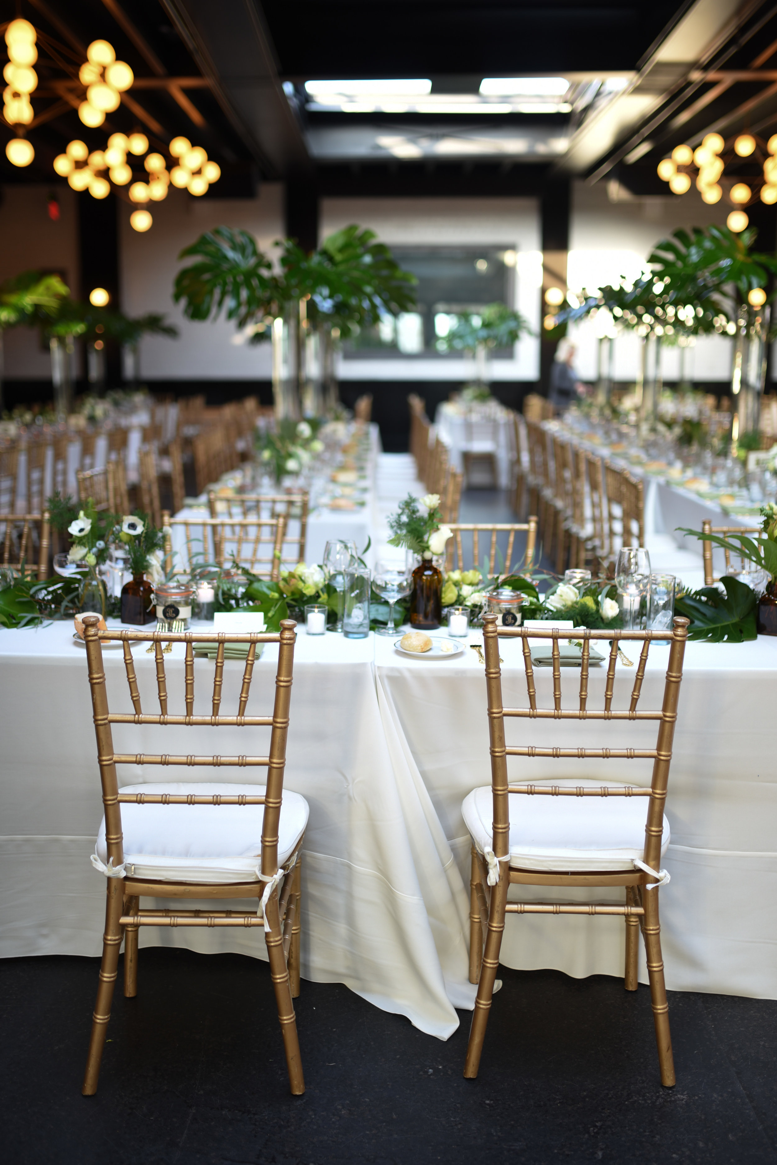 501 Union Wedding, featuring grand botanical big tropical foliage and ferns.