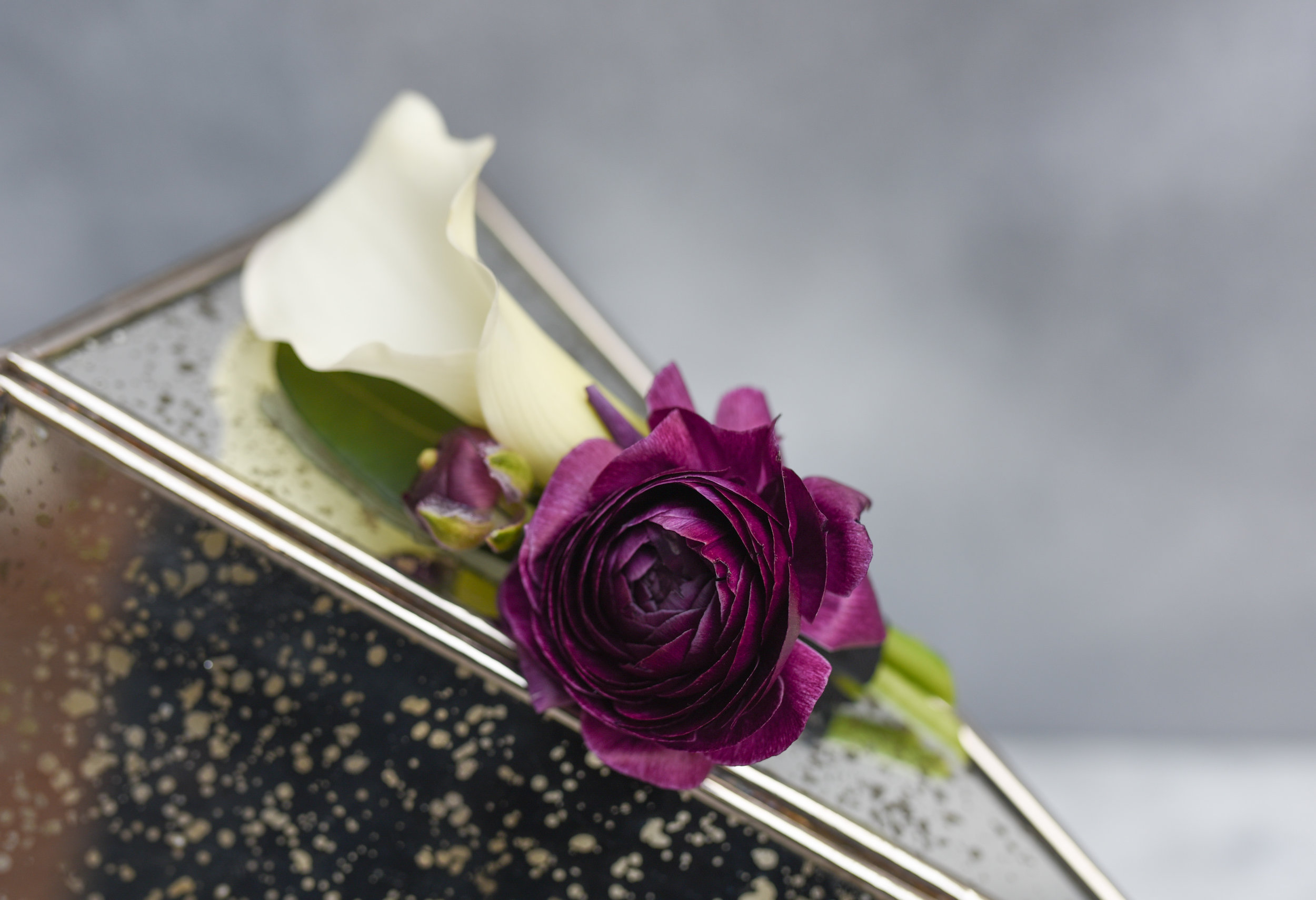 Minimalist groomsmen boutonniere with wintery calla lilies and ranunculus