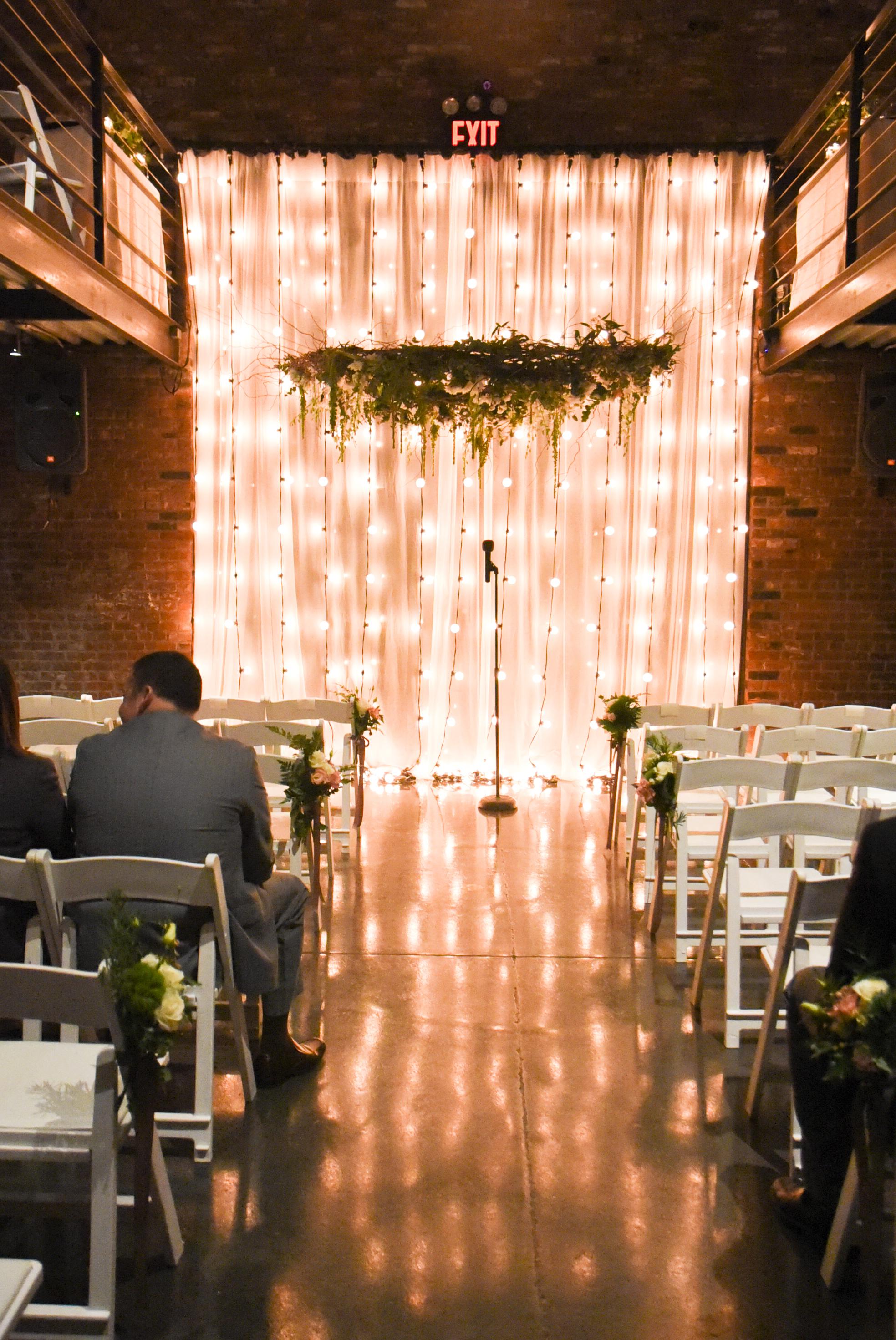 A flower chandelier creates magic
