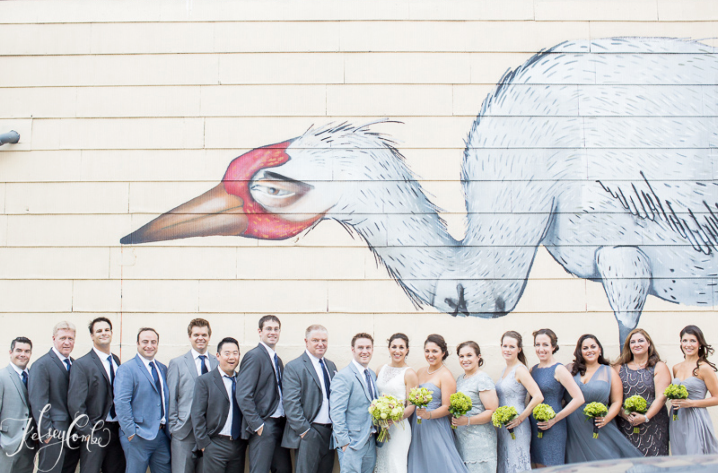 The wedding party with some Williamsburgh street art