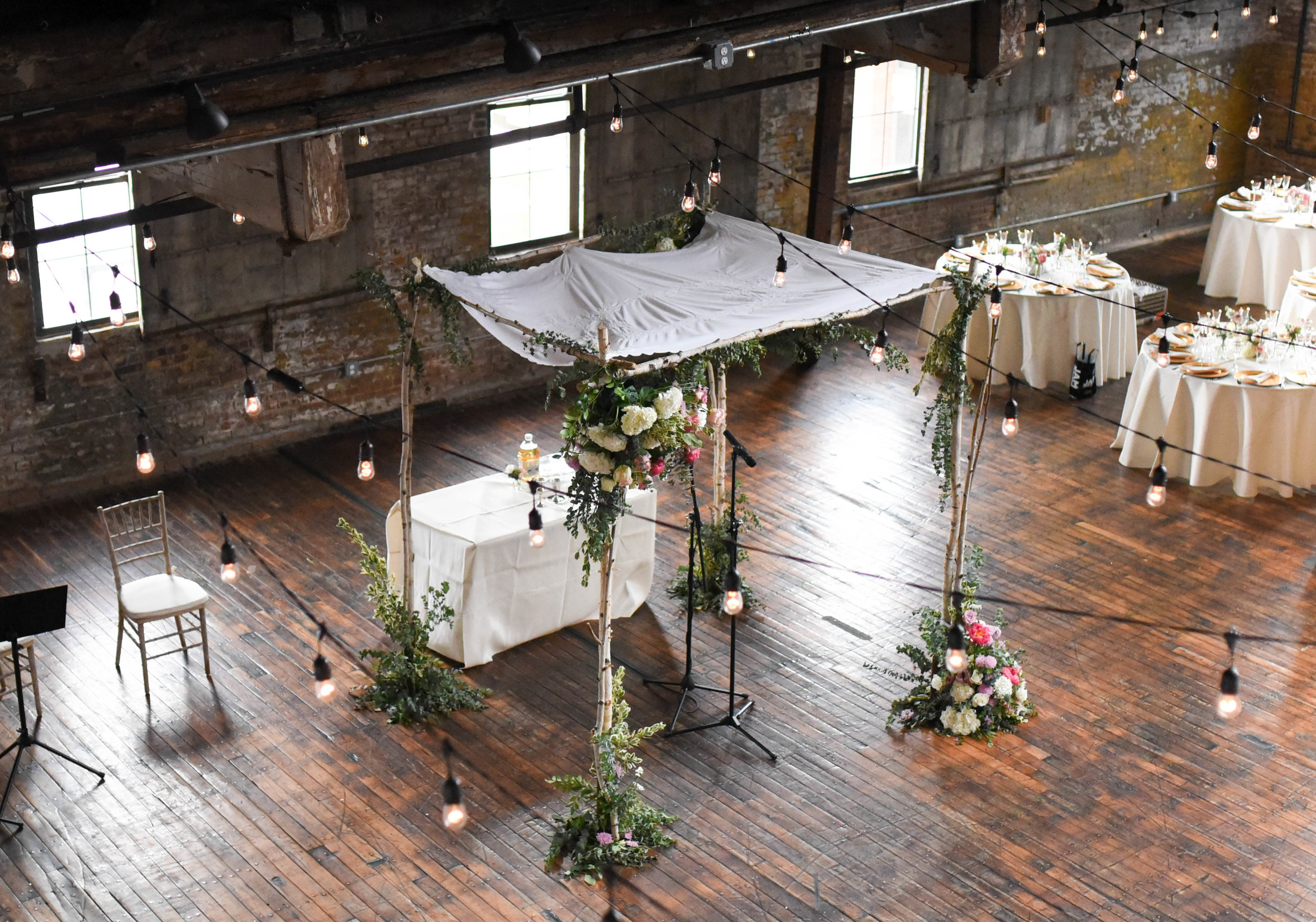 Another view of the chuppah at this Brooklyn summer wedding