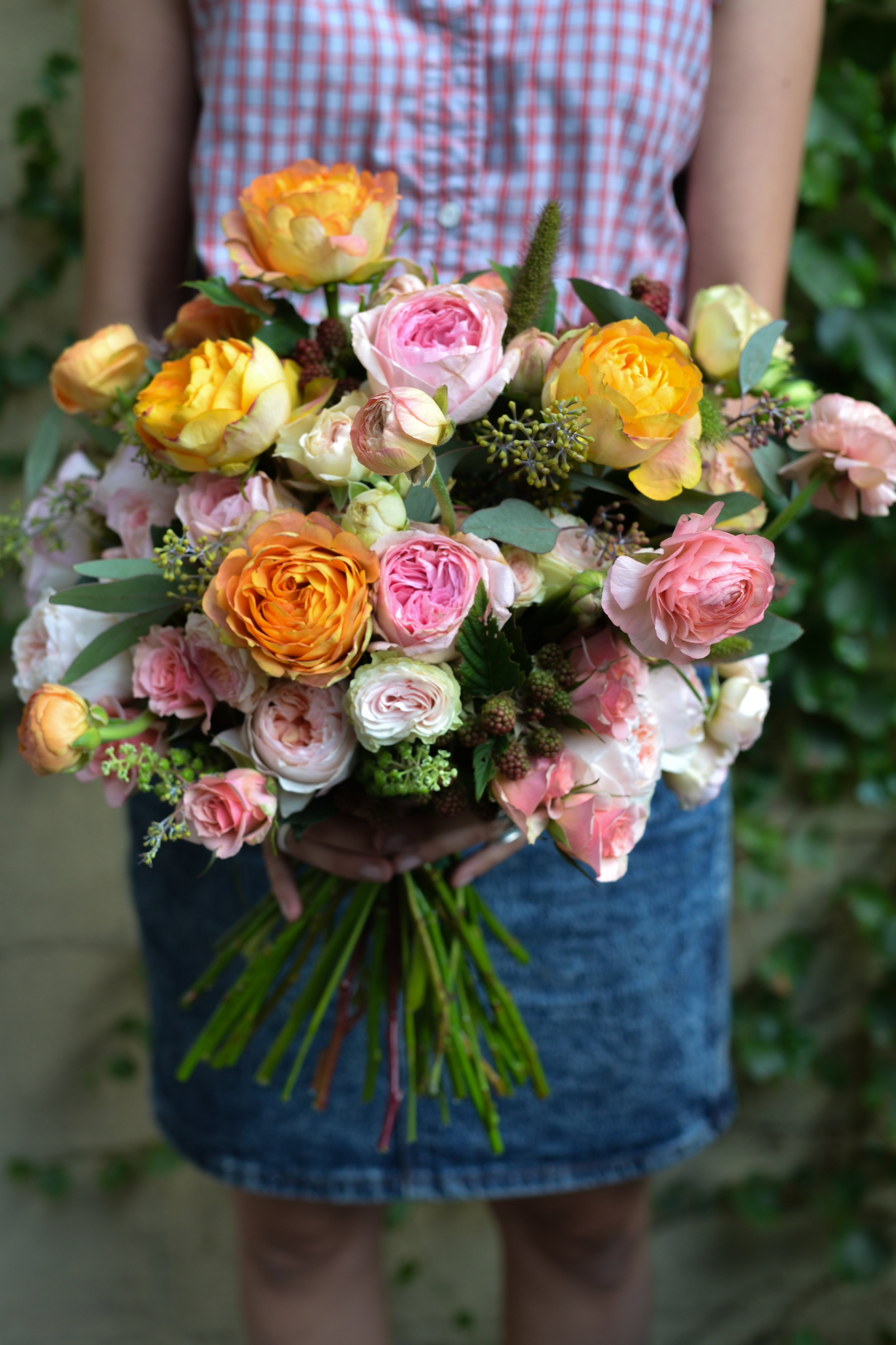 The bridal bouquet after completion at the Rosehip Shop!