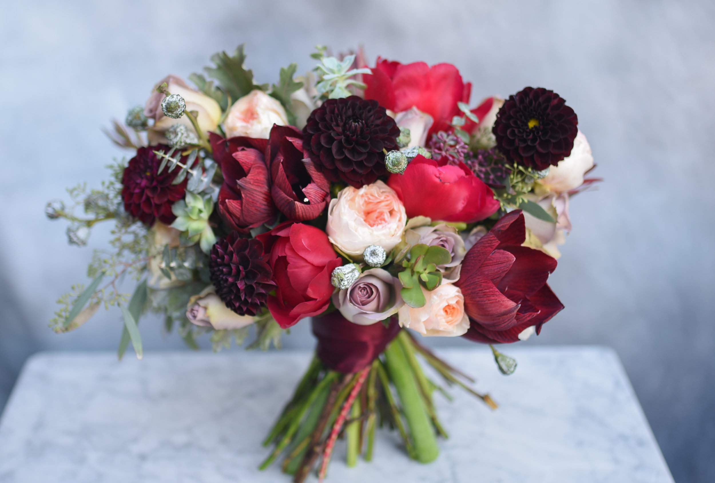 The bridal bouquet for Melissa, gorgeous deep fall colors