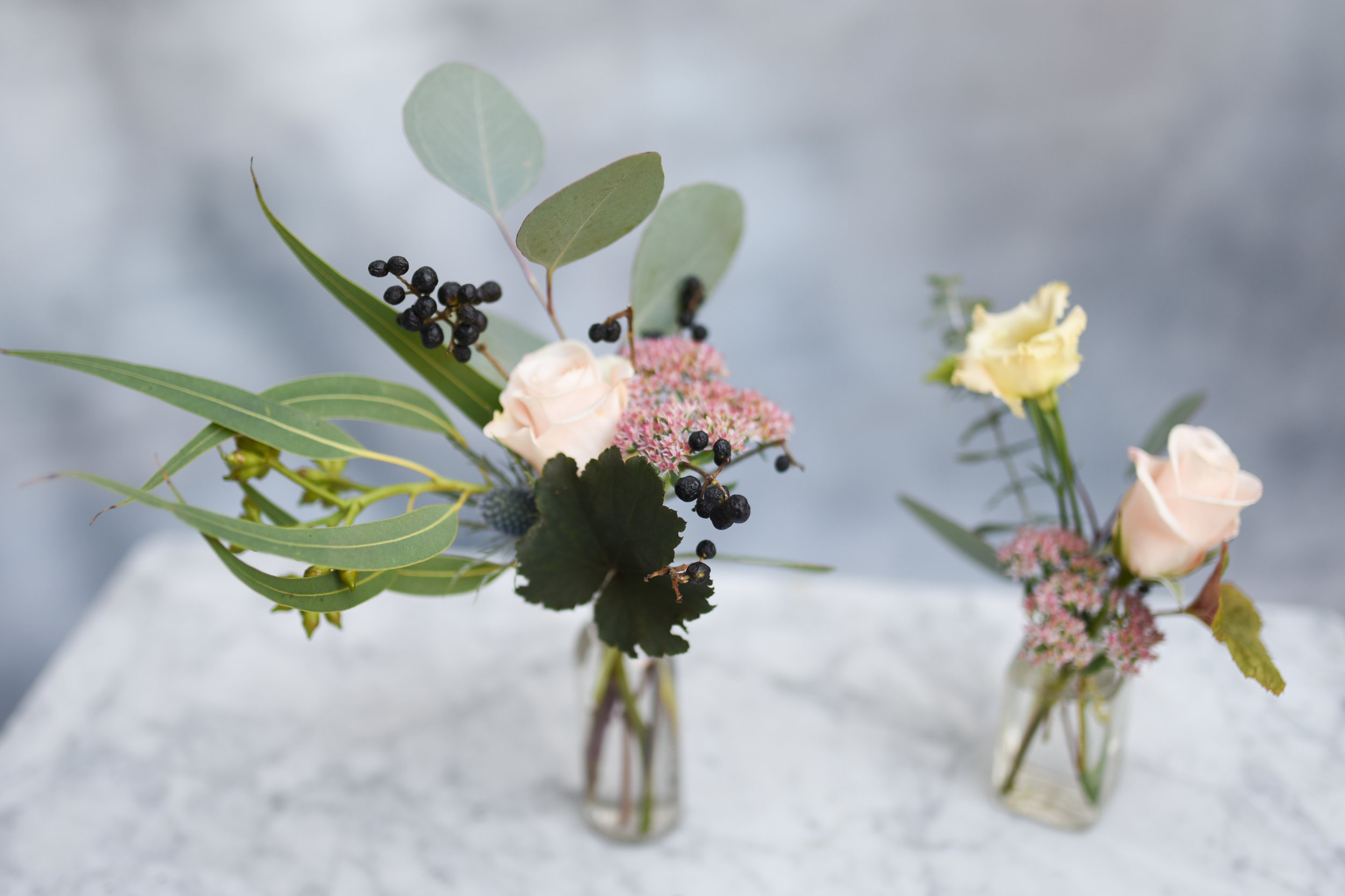 Pale and dark toned flowers for a Brooklyn baby shower