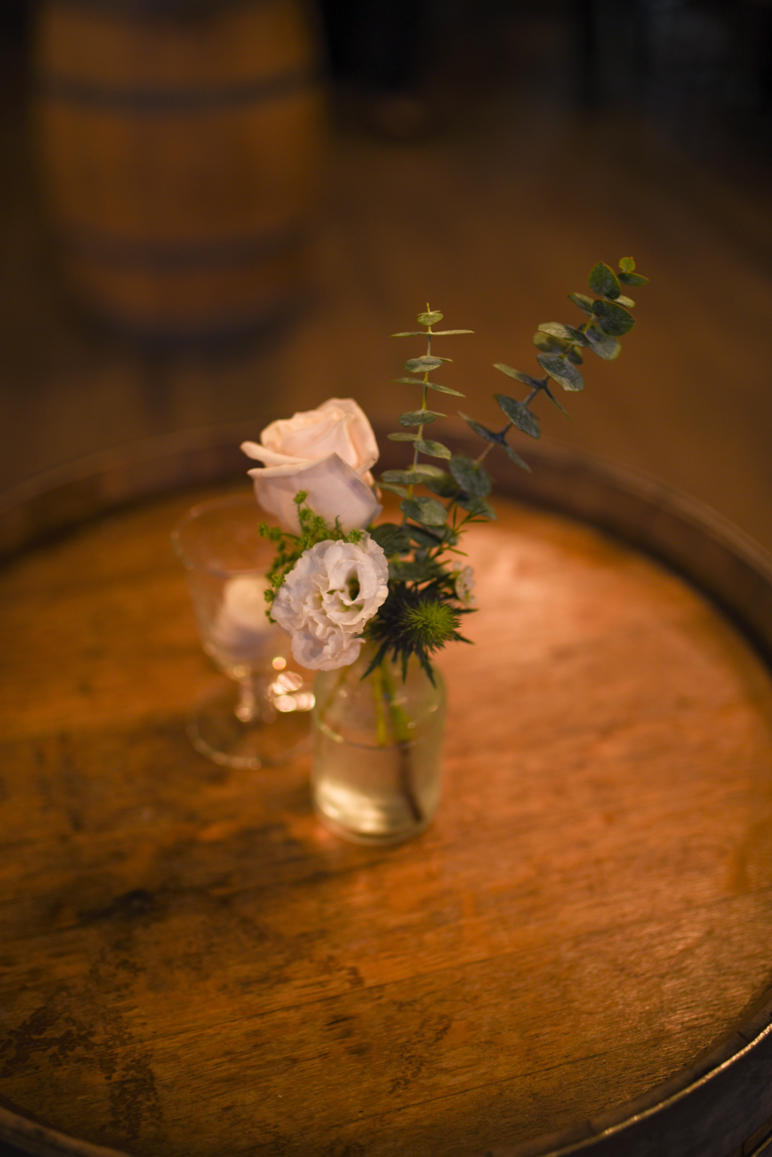 Additional bud vases at this blue and white reception
