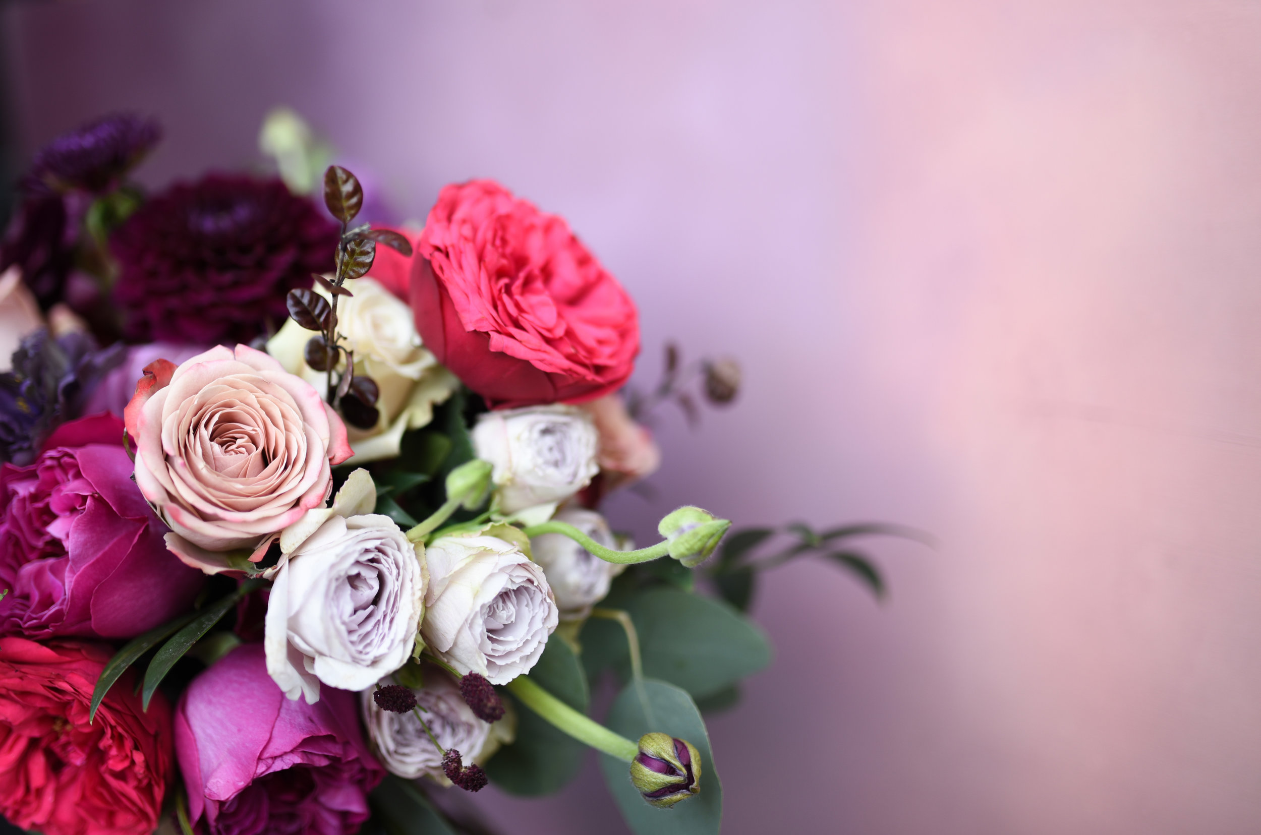 A close shot of this beautiful, natural hand tied bouquet
