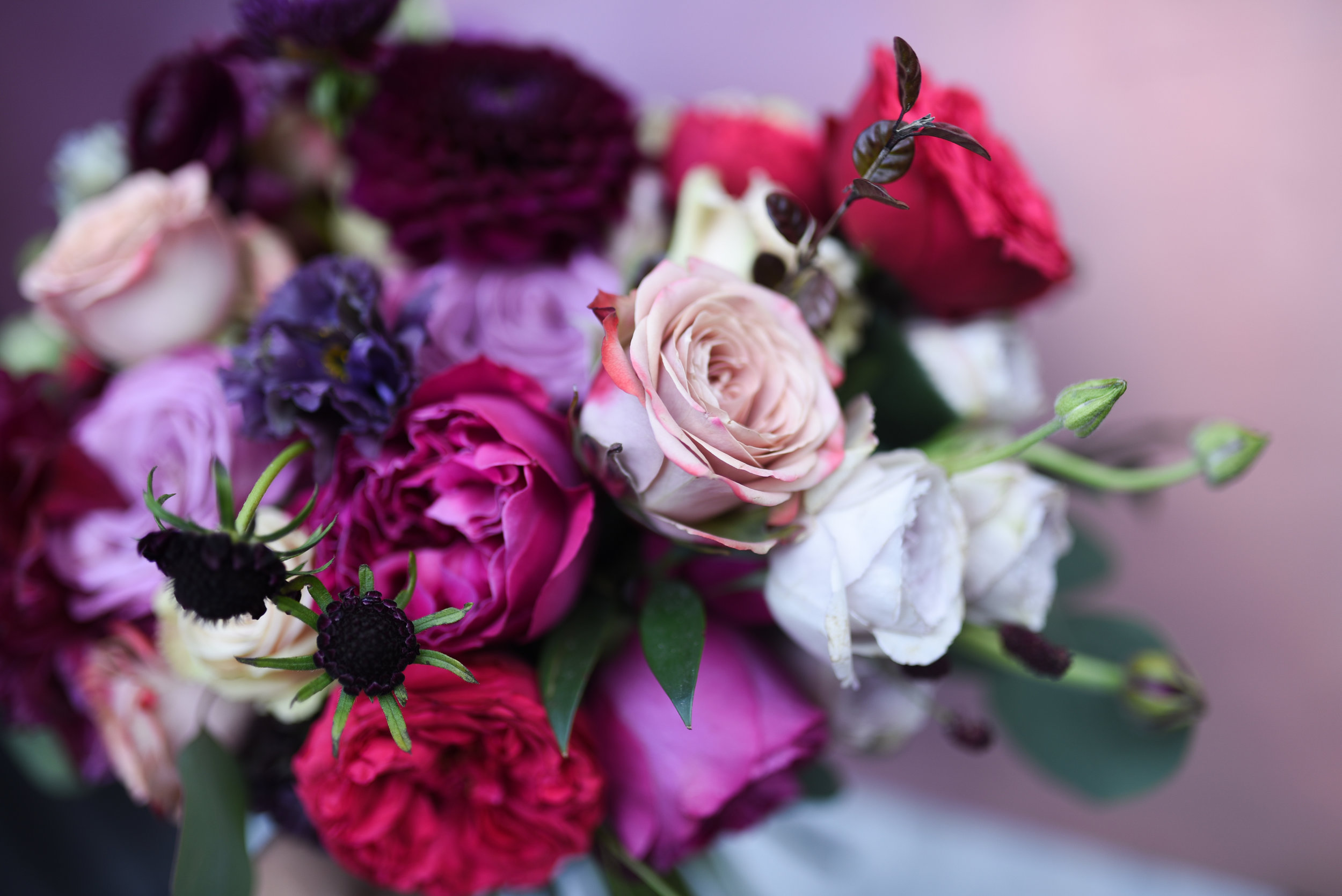 Jewel toned bridal bouquet for a Brooklyn wedding