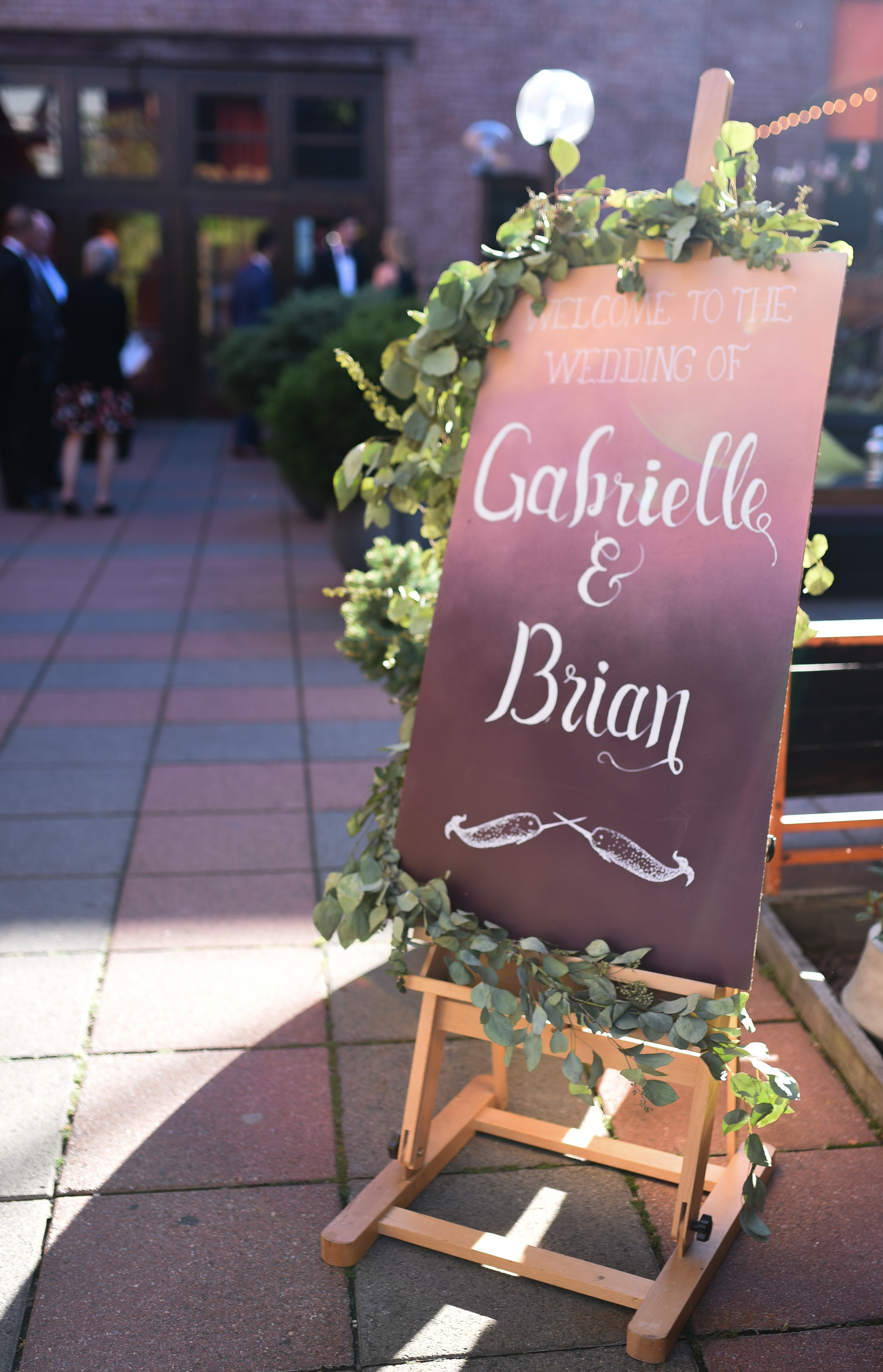 A handmade wedding sign