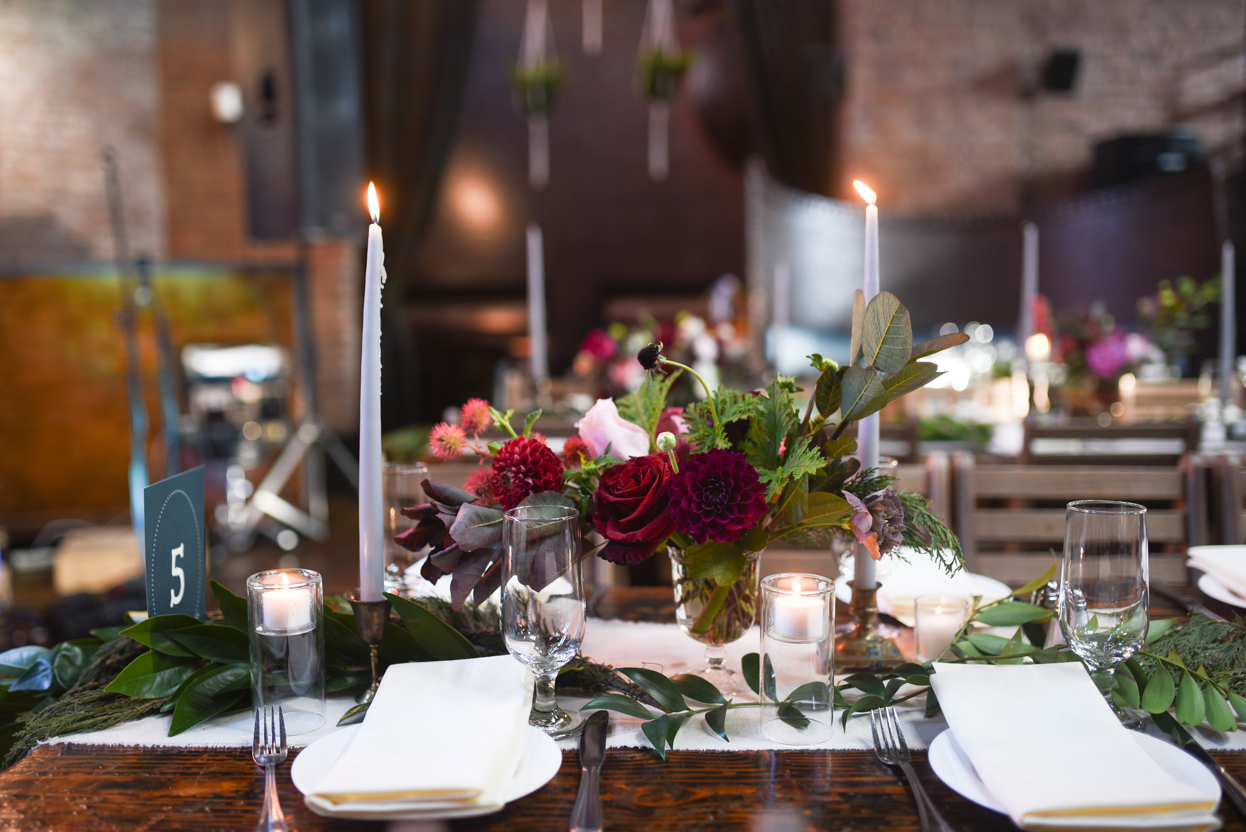 Lovely jewel toned centerpieces for this wedding at MyMoon in Williamsburg, Brooklyn