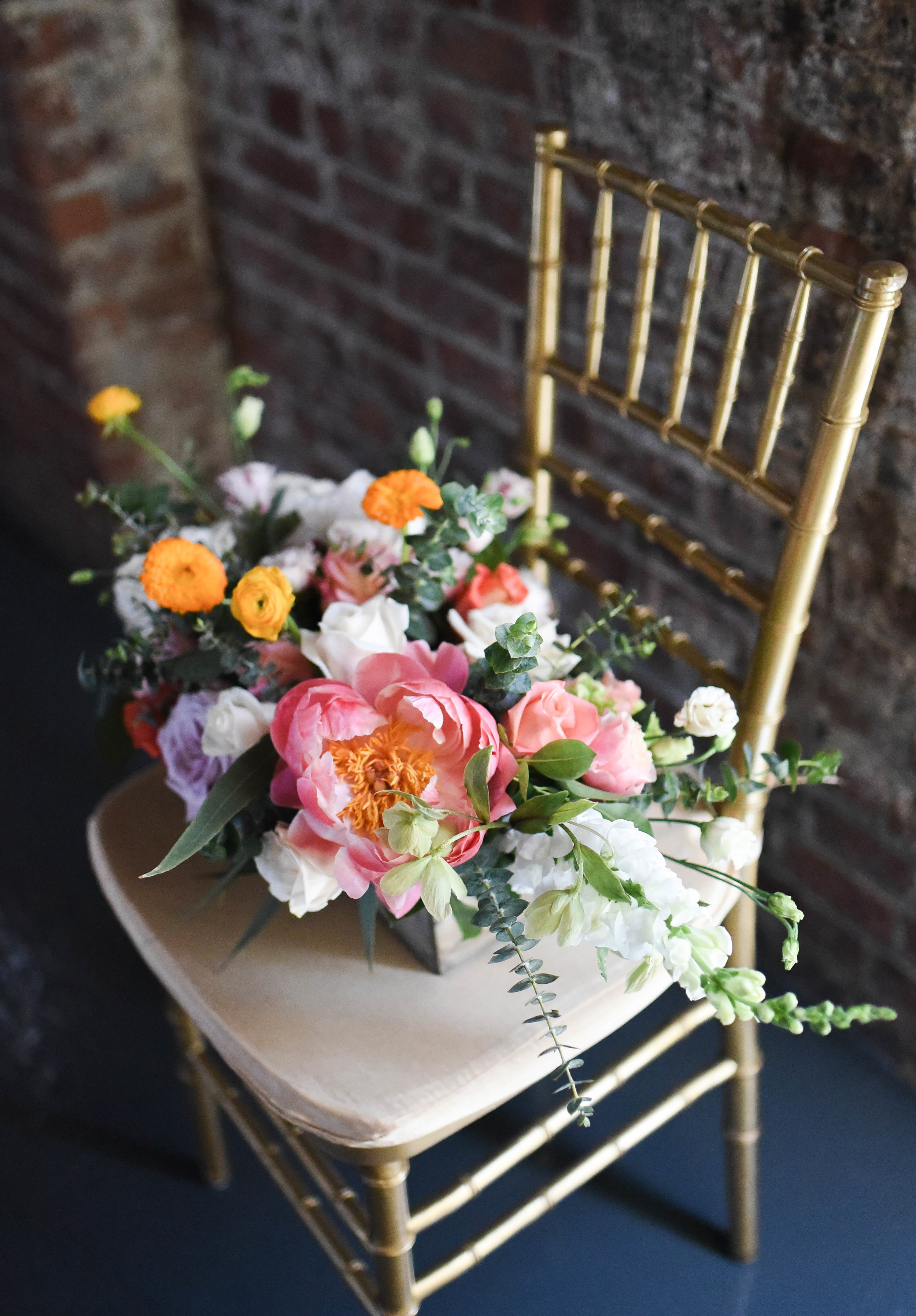 A gorgeous colorful centerpiece for this Brooklyn Wedding