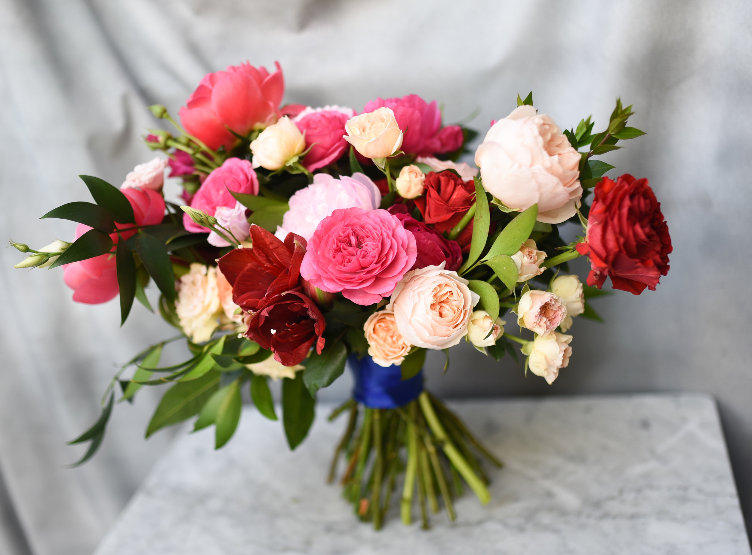 A bridal bouquet with endless high-end flowers
