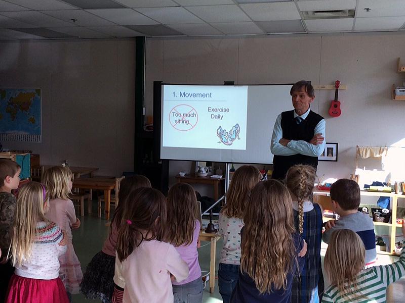 With Kindergarten class