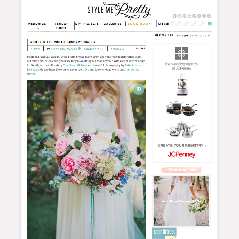 Modern-Meets-Vintage Wedding Inspiration on Style Me Pretty