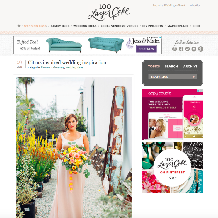 Citrus Wedding Inspiration featured on 100 Later Cake
