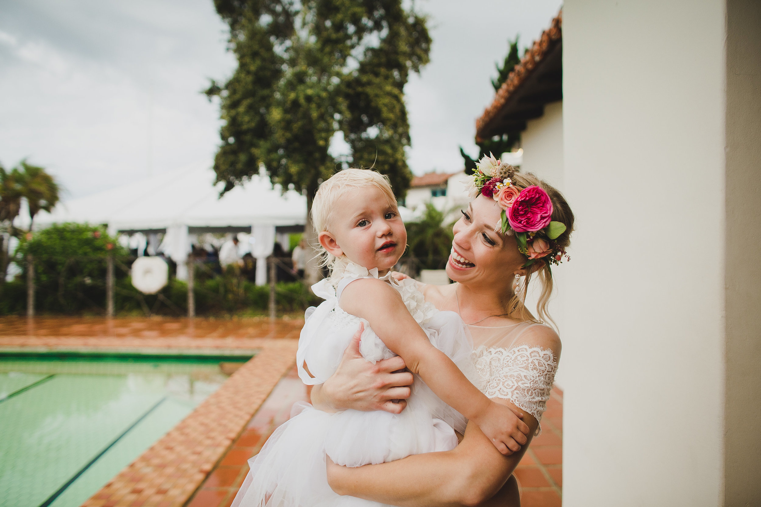Pink and Peach Wildflower wedding at the Adamson House in Malibu. Image by  Kym Ventola .