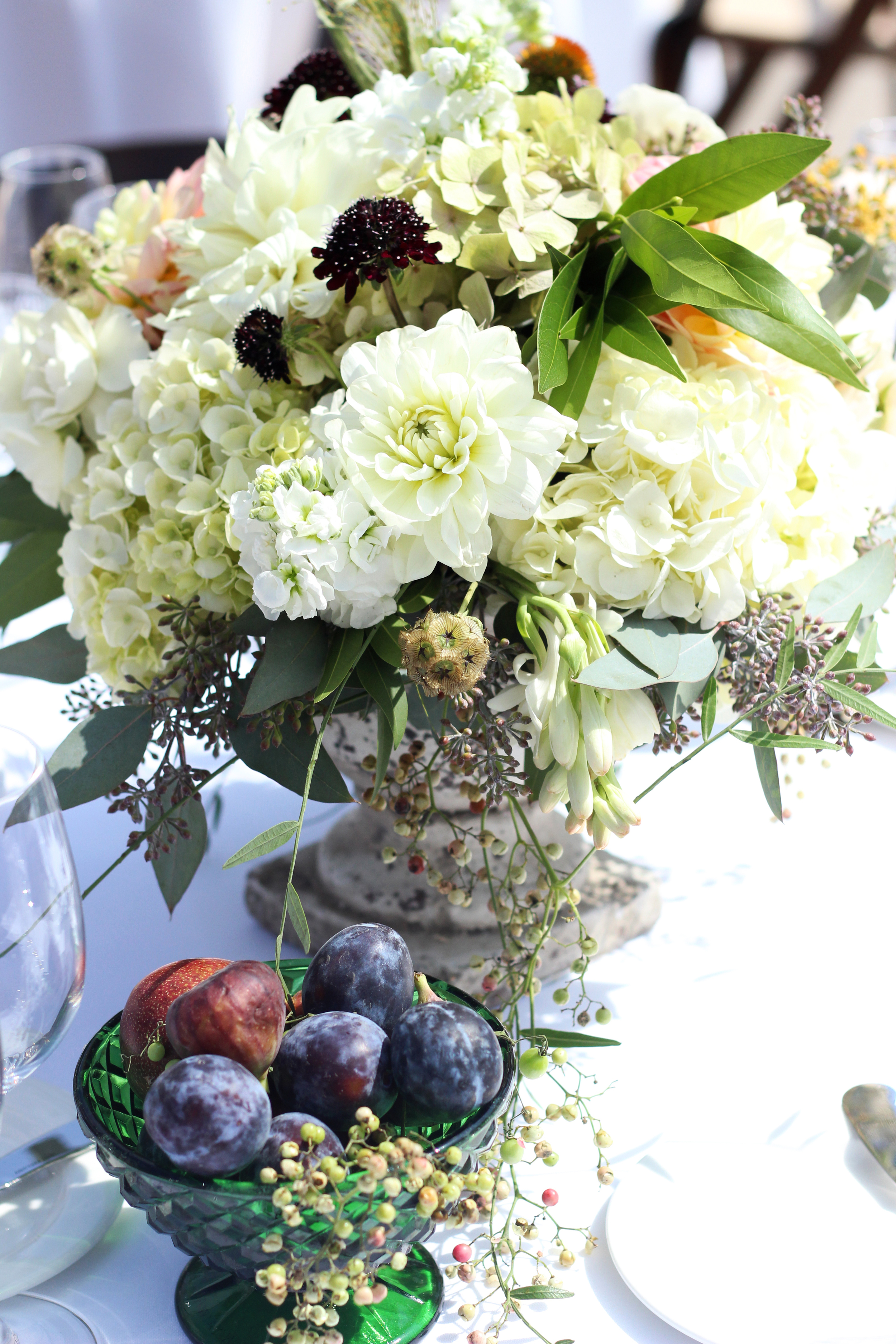 Lush fruit and floral centerpieces at The Ranch in Laguna Beach. Image by Adrienne Moore.