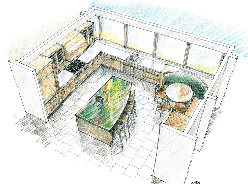 Lifestyle Design Studio Inc.; lifestyle; design; studio; kitchens; kitchen; living spaces; award wining design; luxury; residences; residential; Hawaii; Pacific Rim; bath; bathroom; homes; home; Roxanne Okazaki; CKD; detail; interior designers; architects; Premier Custom Built; Artcraft Kitchens; Sub Zero Wolf; Riggs Distributing; cabinetry; cabinets; refrigerators; freezers; wine storage; appliances; kitchen designer; veneer; hardware; stainless steel; wood; doors; drawers; contemporary; Mizuki; walnut; island; hood; cooktop; cooking hearth; glass tile; backsplash; sink; faucet; stove; oven; renderings: hand renderings: hand drawings: elevations; floor plans