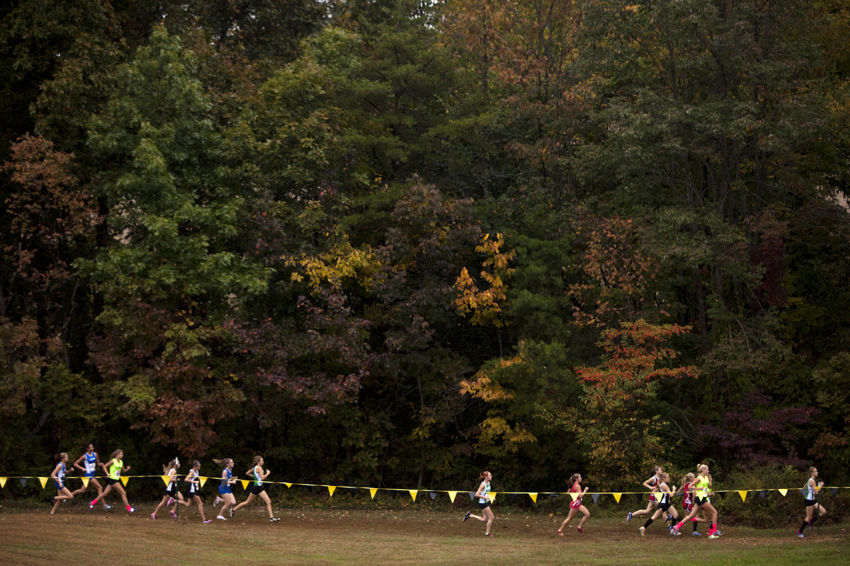 Girls race in the cross country sectional at Vincennes University Jasper Campus in Jasper, Ind.on October 15, 2013.