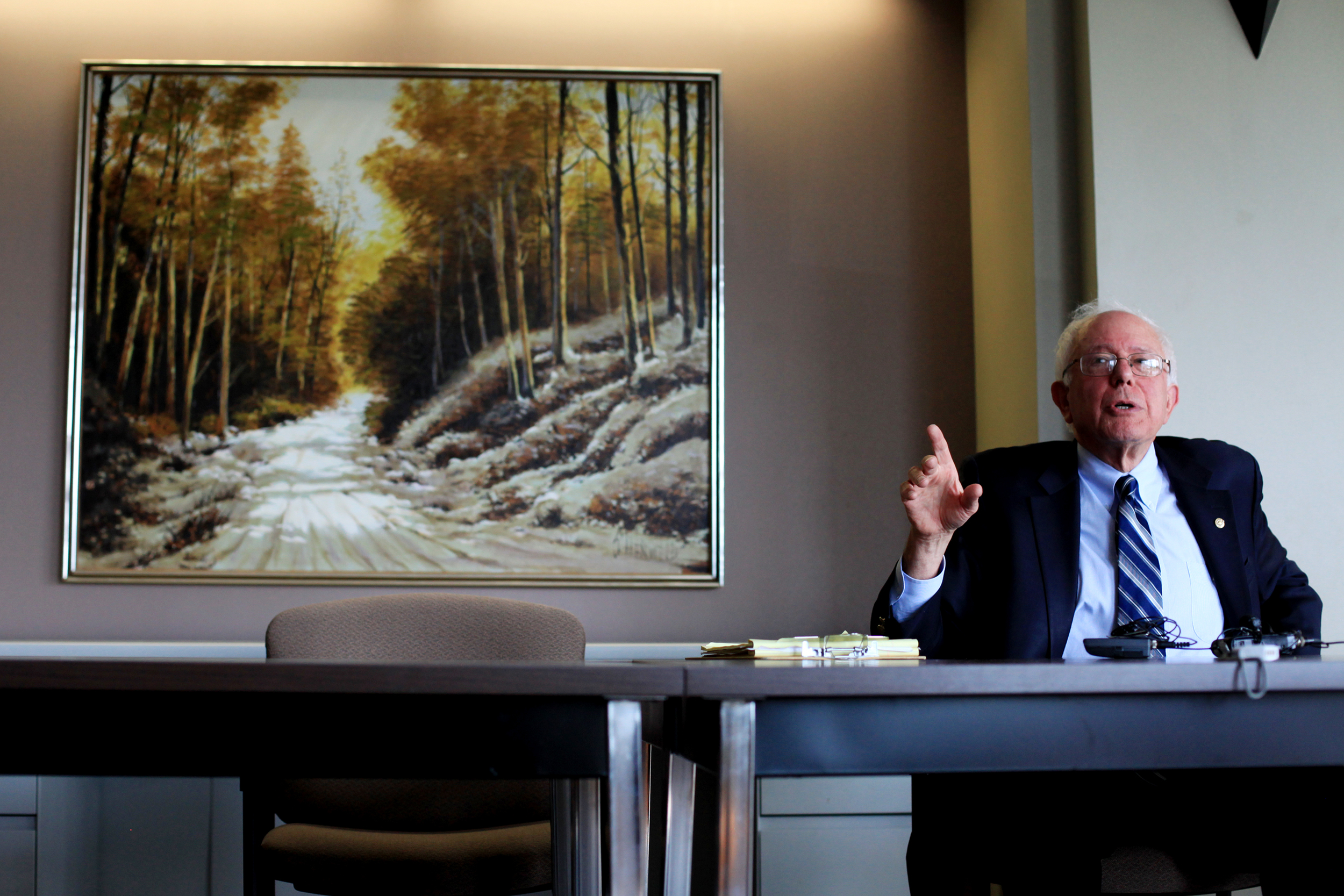 Senate Veterans Affairs Committee Chairman Sen. Bernie Sanders, I-Vt., answers questions about legislation that Congress recently passed to reform the Department of Veterans Affairs during a press conference at the White River Junction VA Medical Center on August 6, 2014.