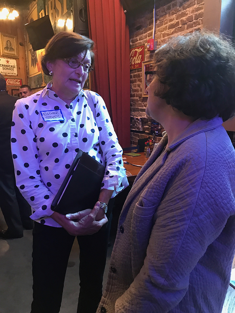 Our board chair  Jodi Mansbach  speaking with  Esther Stokes  of Trust for Public Land and Park Pride